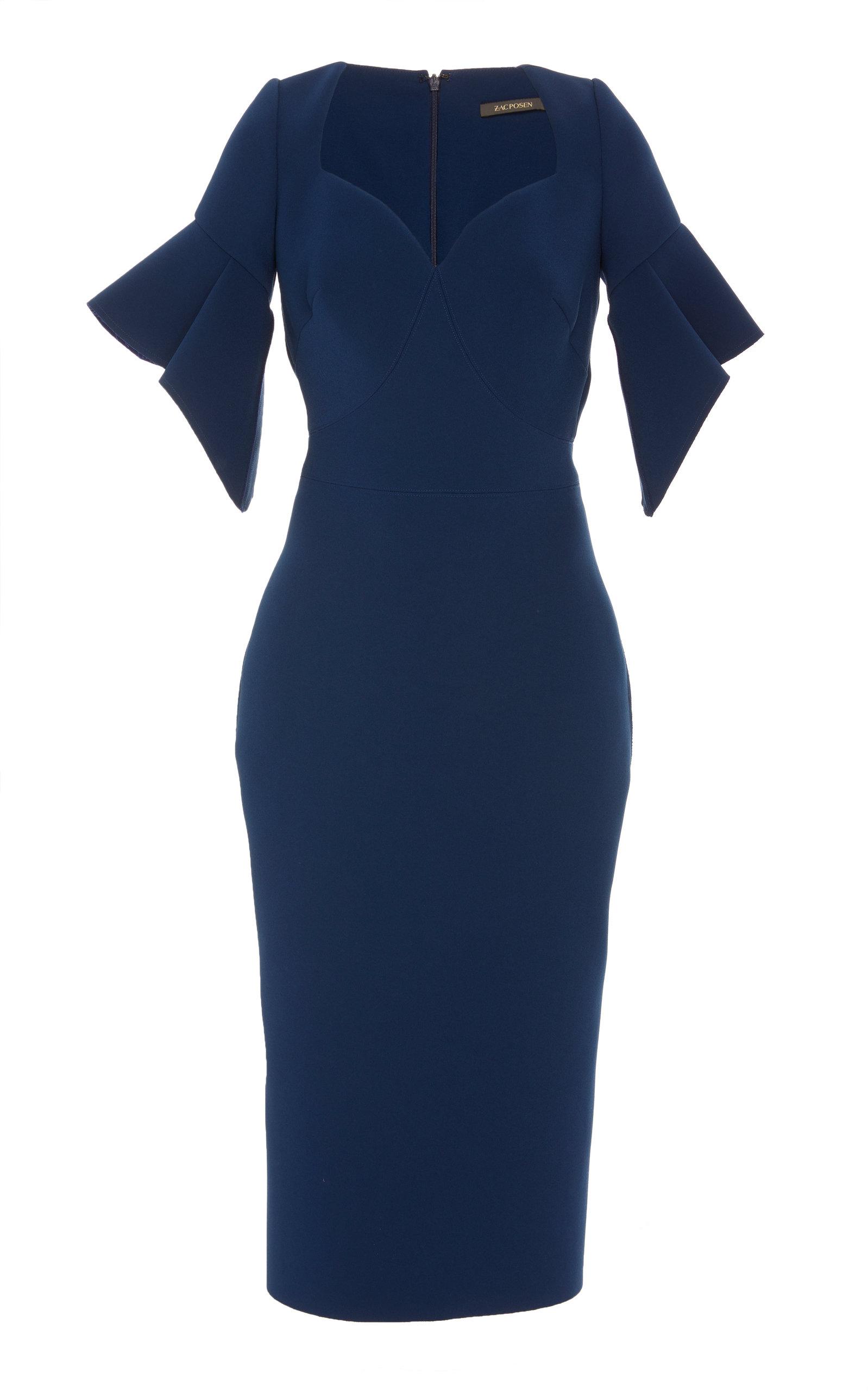 Buy Zac Posen Ruffled Sleeve Cady Midi Dress online, shop Zac Posen at the best price