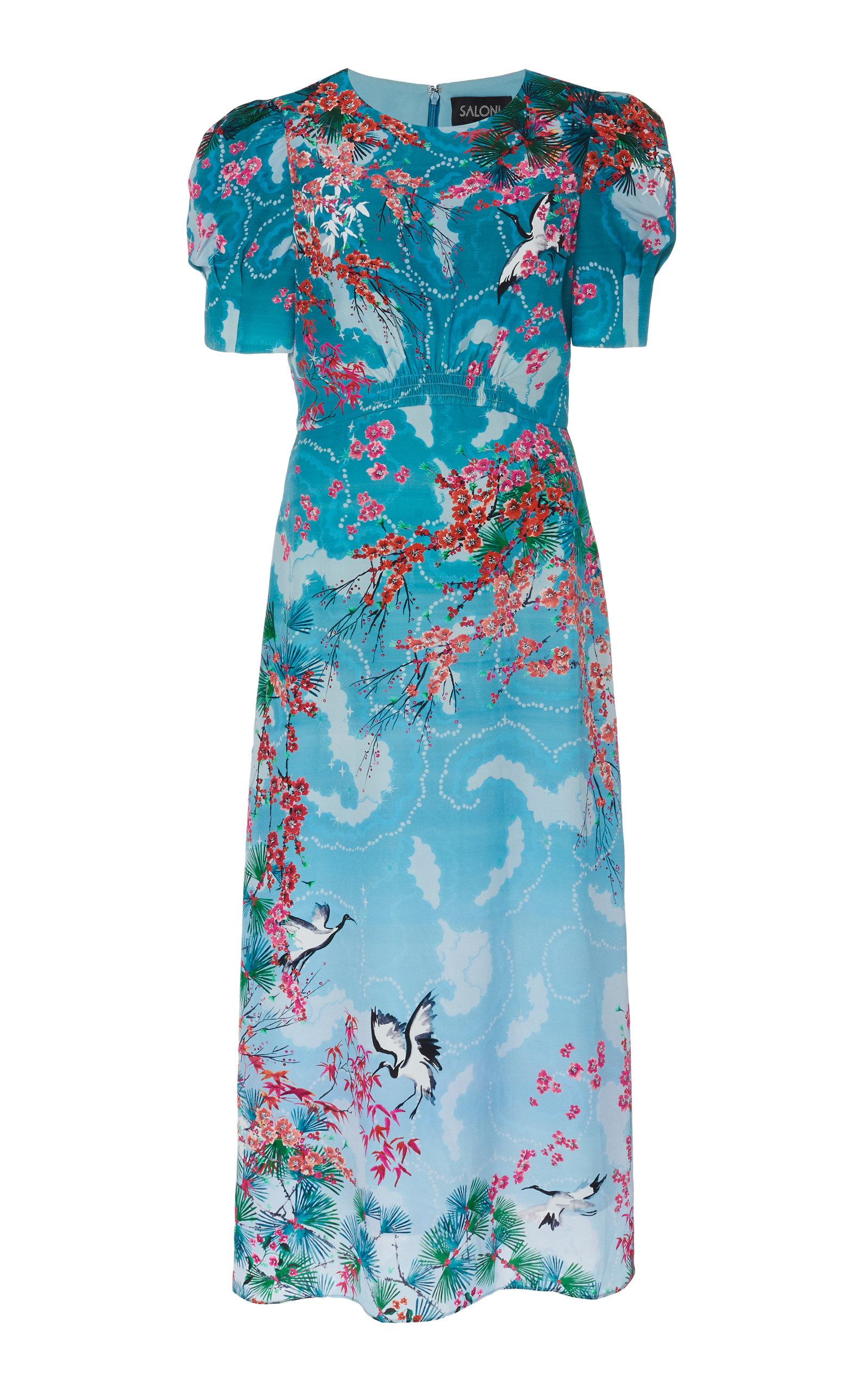 Buy Saloni Bianca Printed Silk Midi Dress online, shop Saloni at the best price