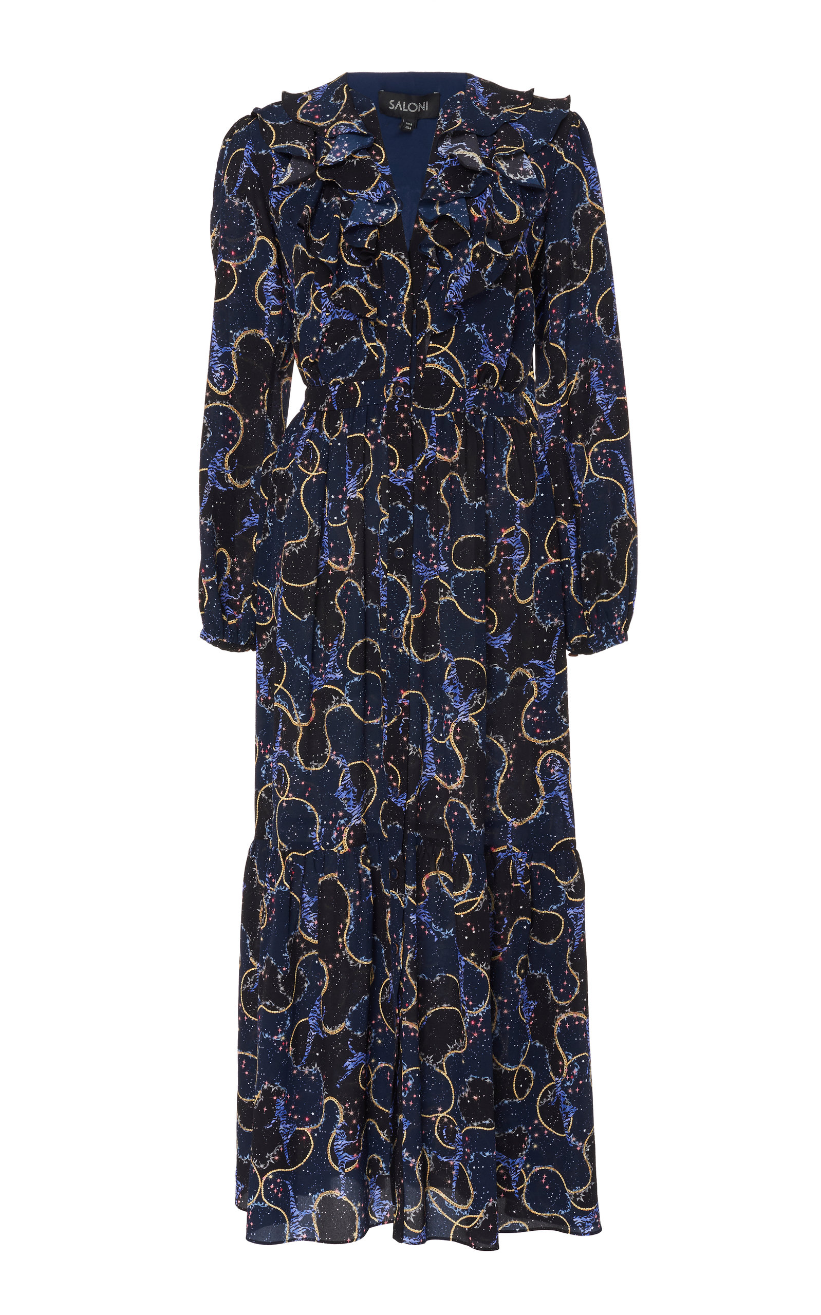 Buy Saloni Ginny Printed Silk Midi Dress online, shop Saloni at the best price