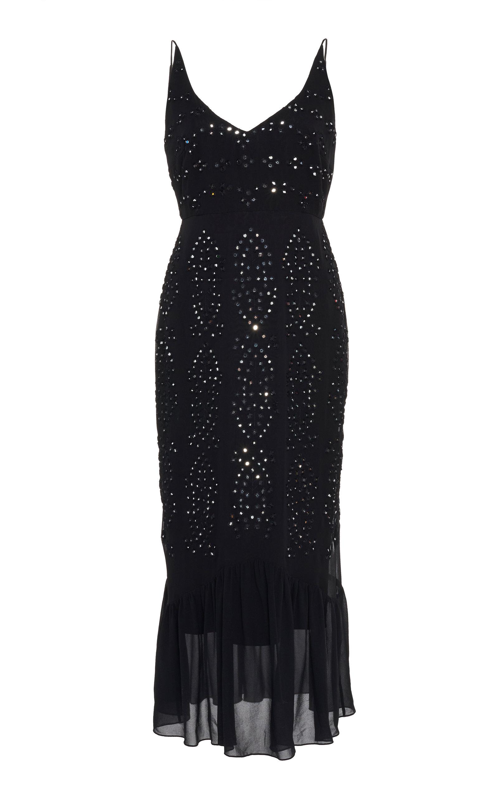 Buy Saloni Aidan Embellished Silk-Chiffon Midi Dress online, shop Saloni at the best price