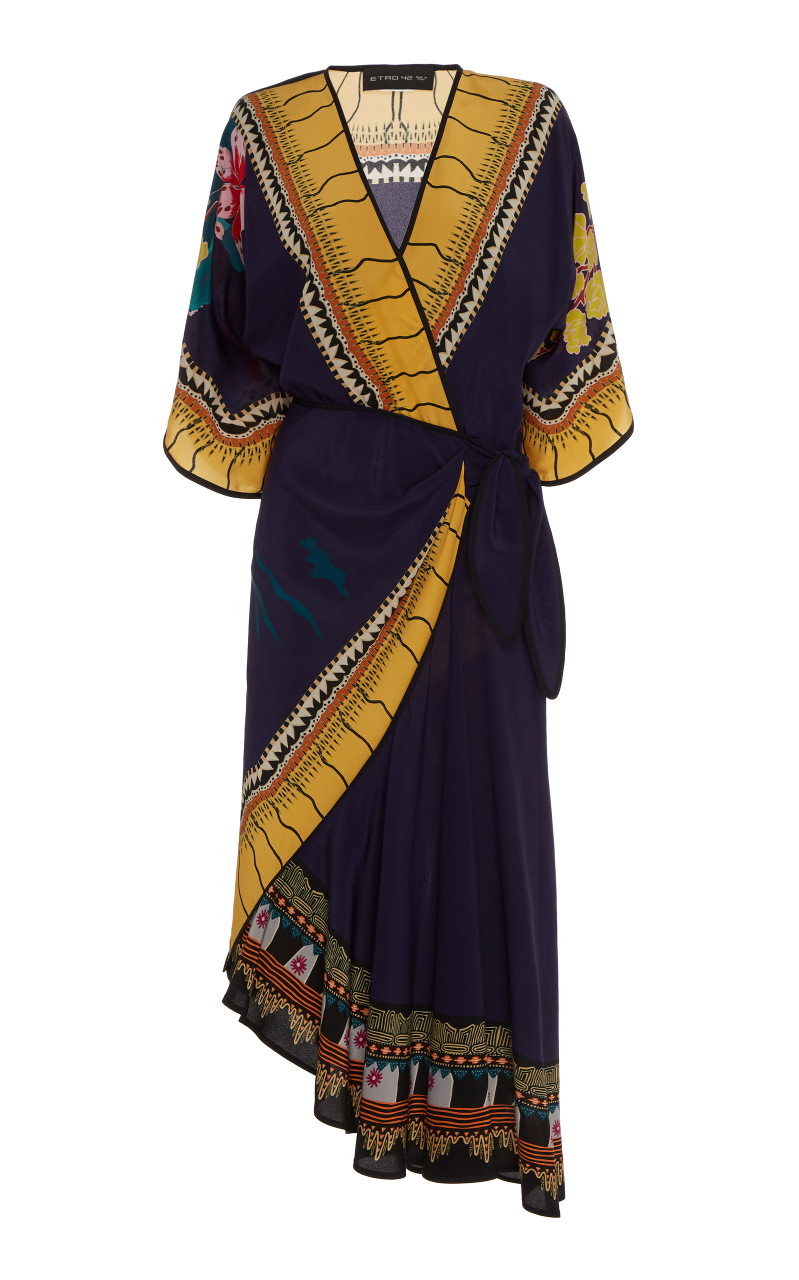 Buy Etro Printed Silk Asymmetric Wrap Dress online, shop Etro at the best price