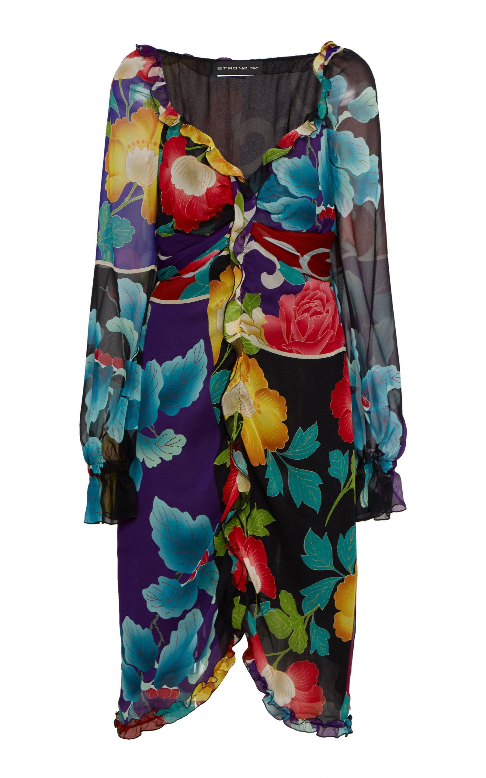 Buy Etro Ruffled Silk Midi Dress online, shop Etro at the best price