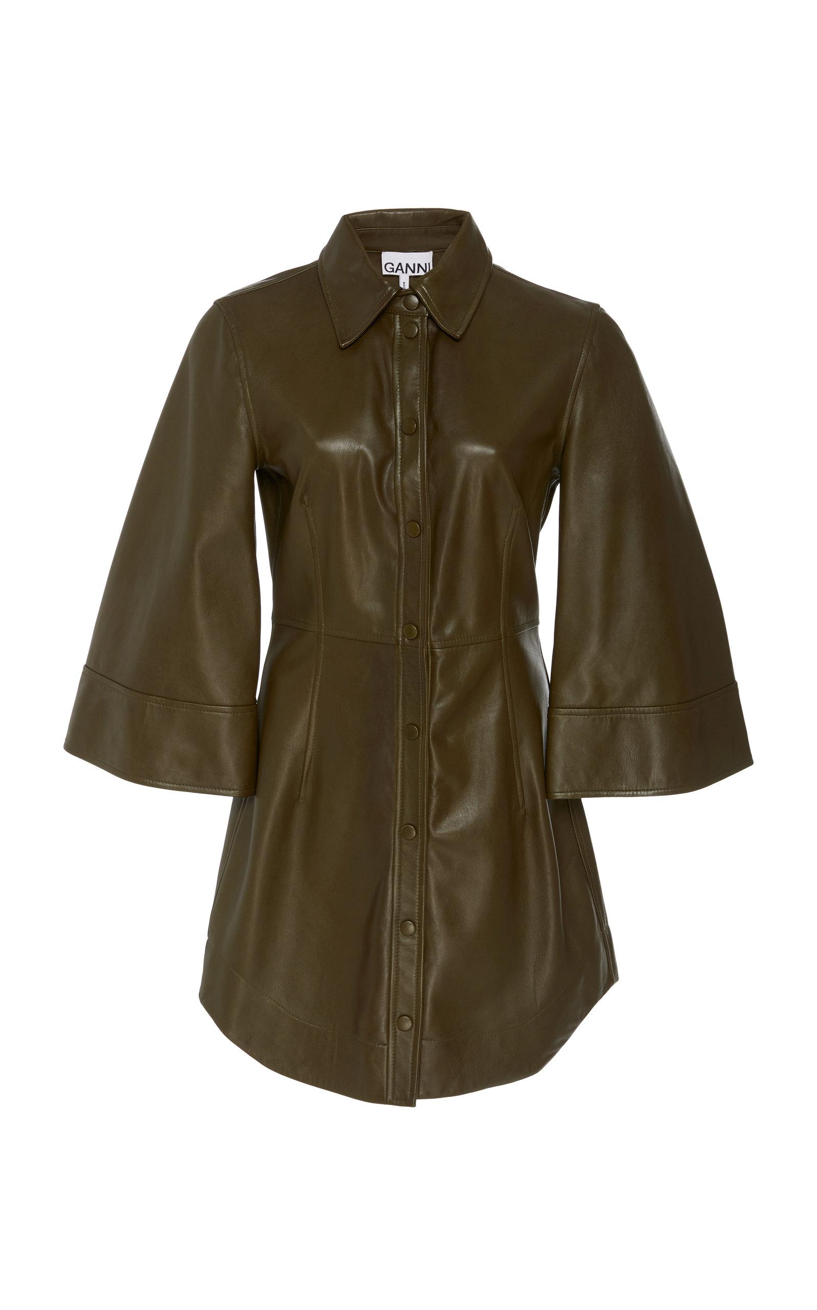 Buy Ganni Leather Mini Dress online, shop Ganni at the best price
