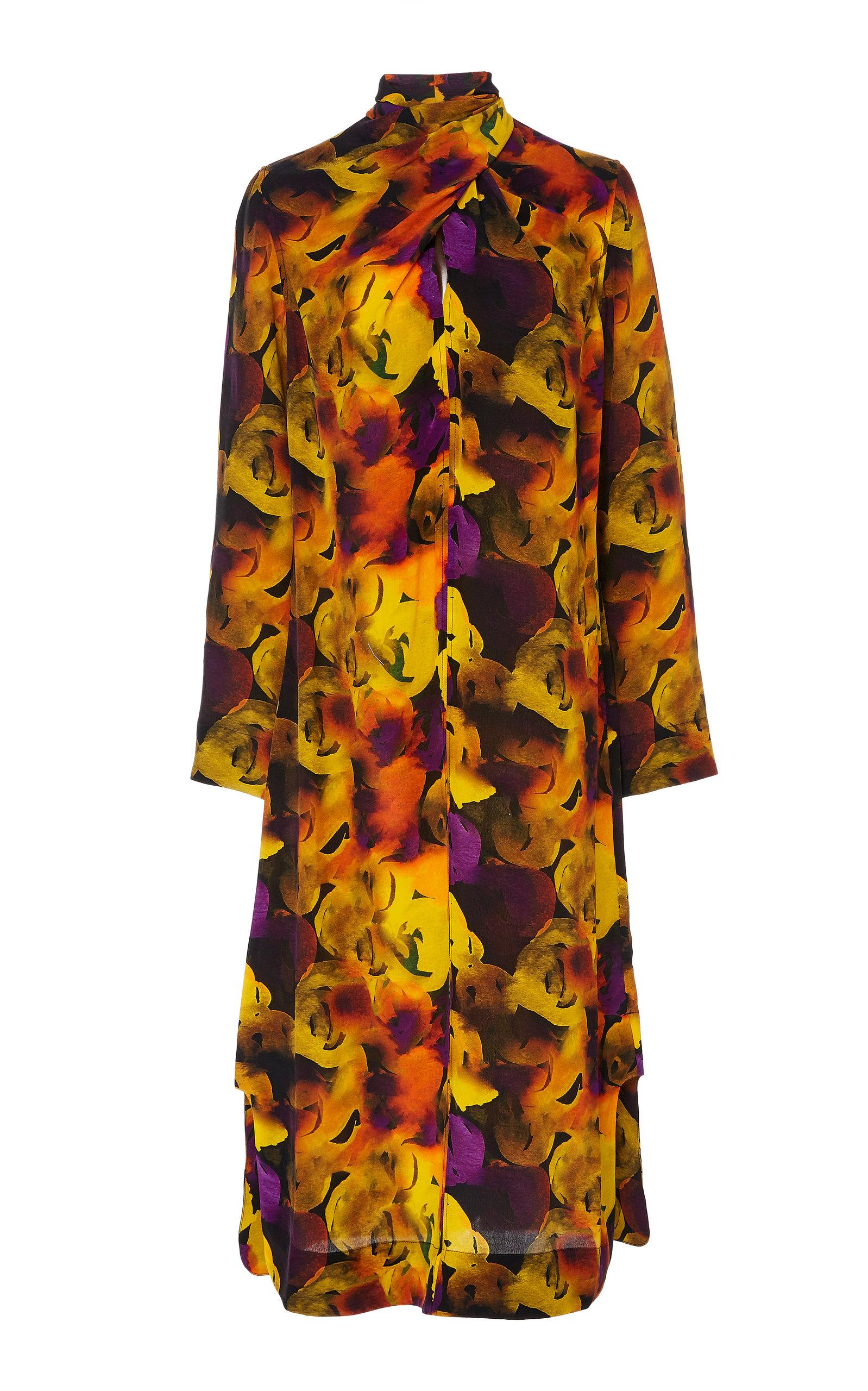 Buy Ganni Twisted Printed Crepe De Chine Dress online, shop Ganni at the best price