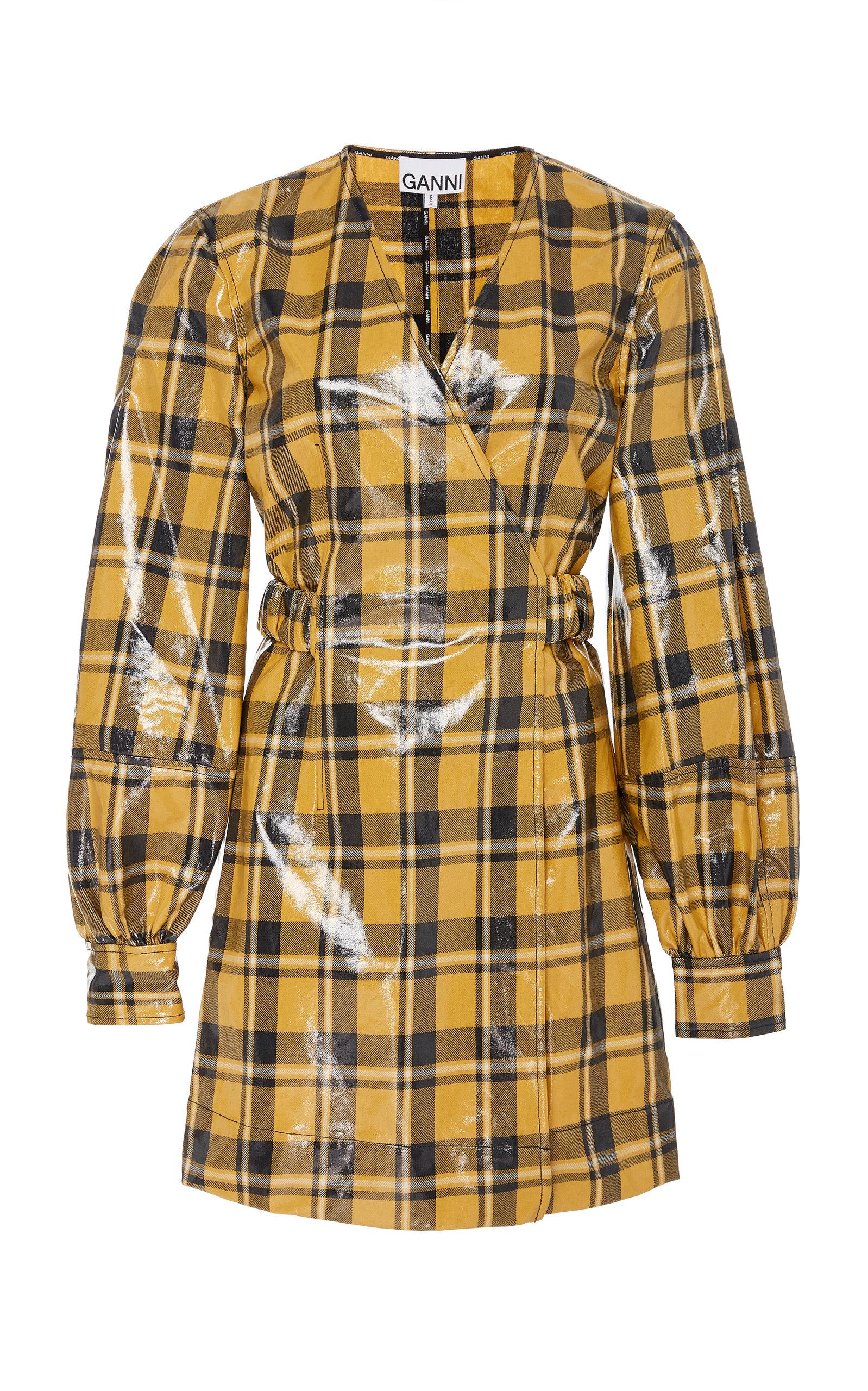 Buy Ganni Checked Vinyl Mini Dress online, shop Ganni at the best price