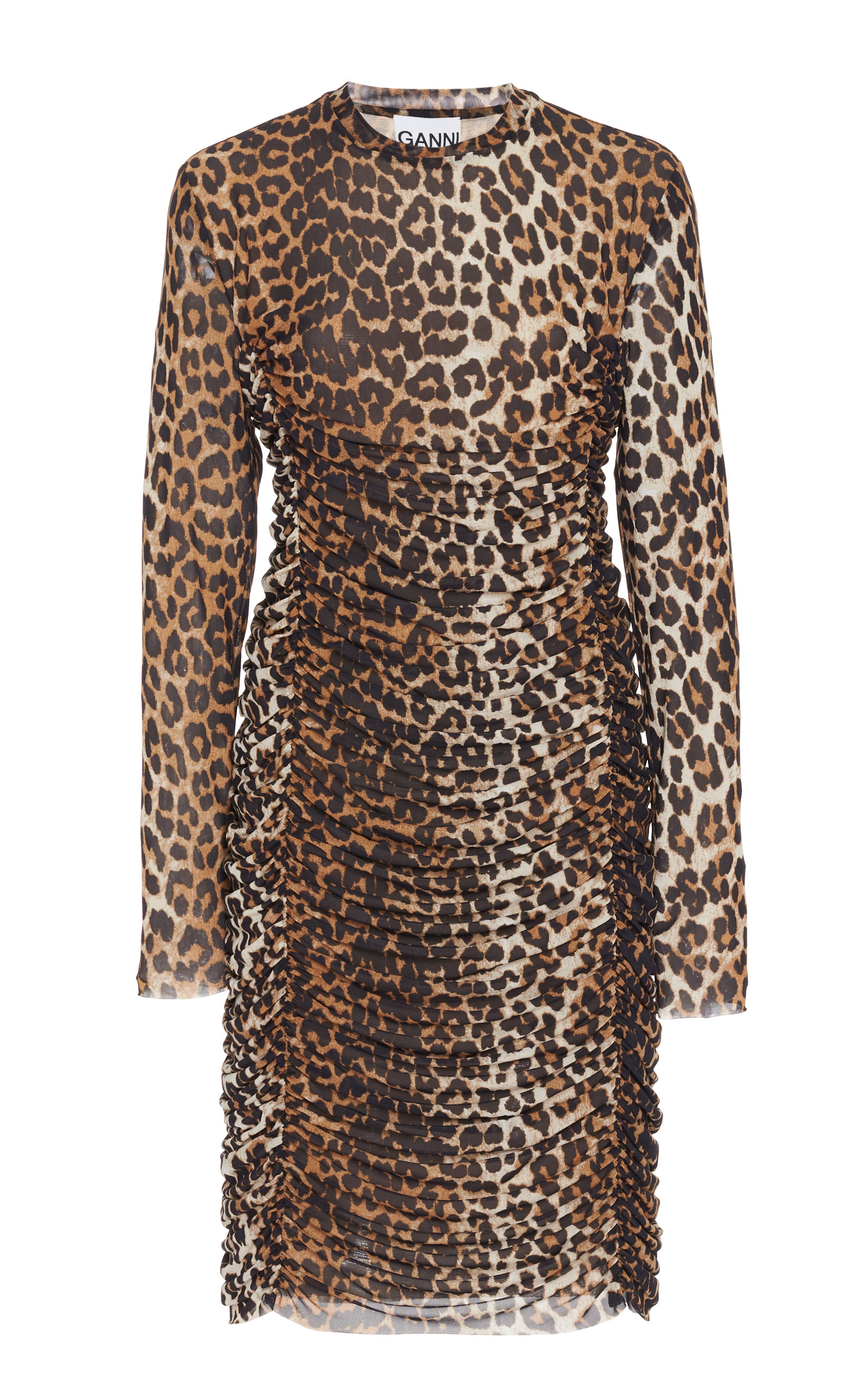 Buy Ganni Leopard-Print Ruched Mesh Dress online, shop Ganni at the best price