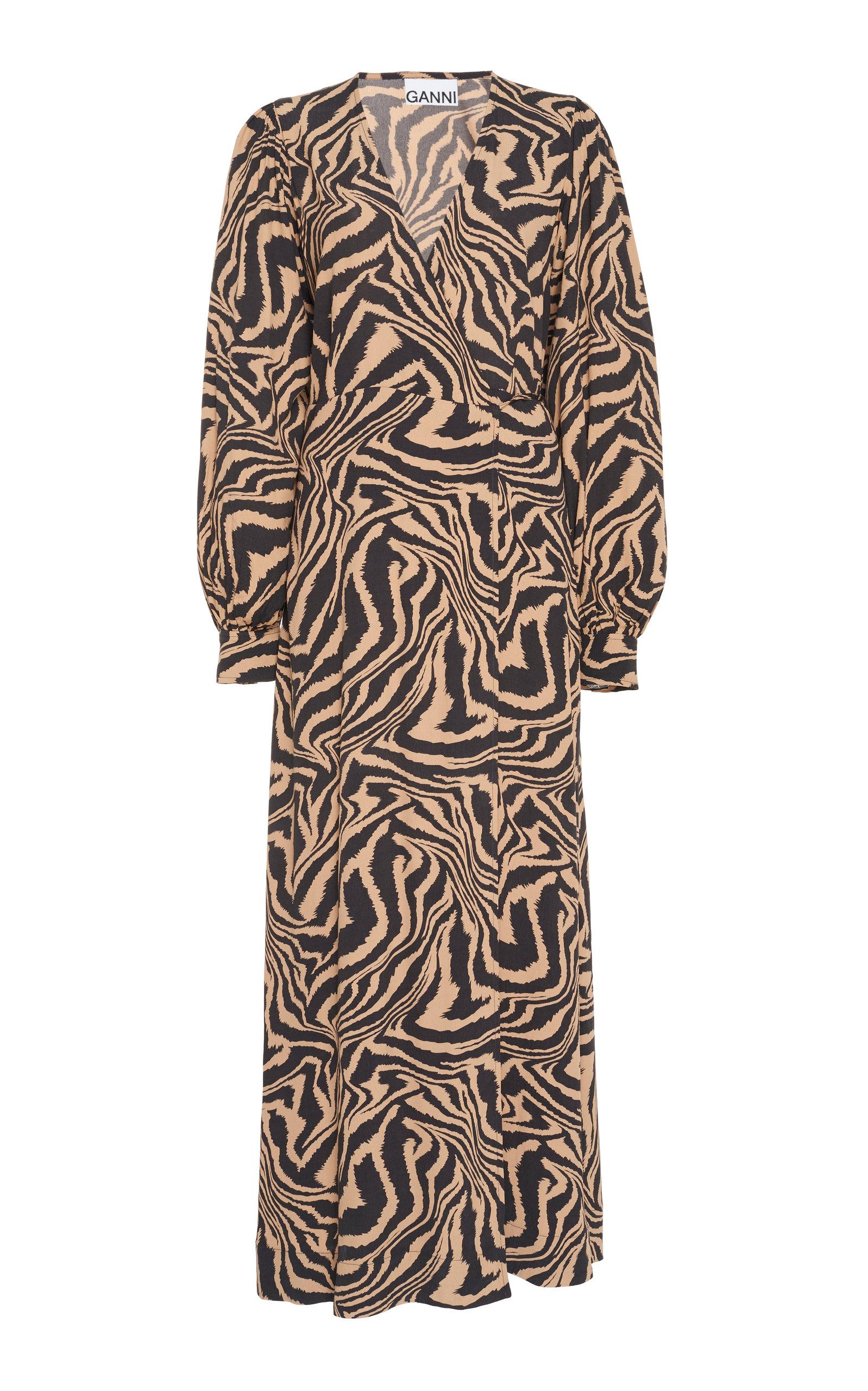 Buy Ganni Animal-Print Crepe Wrap Dress online, shop Ganni at the best price