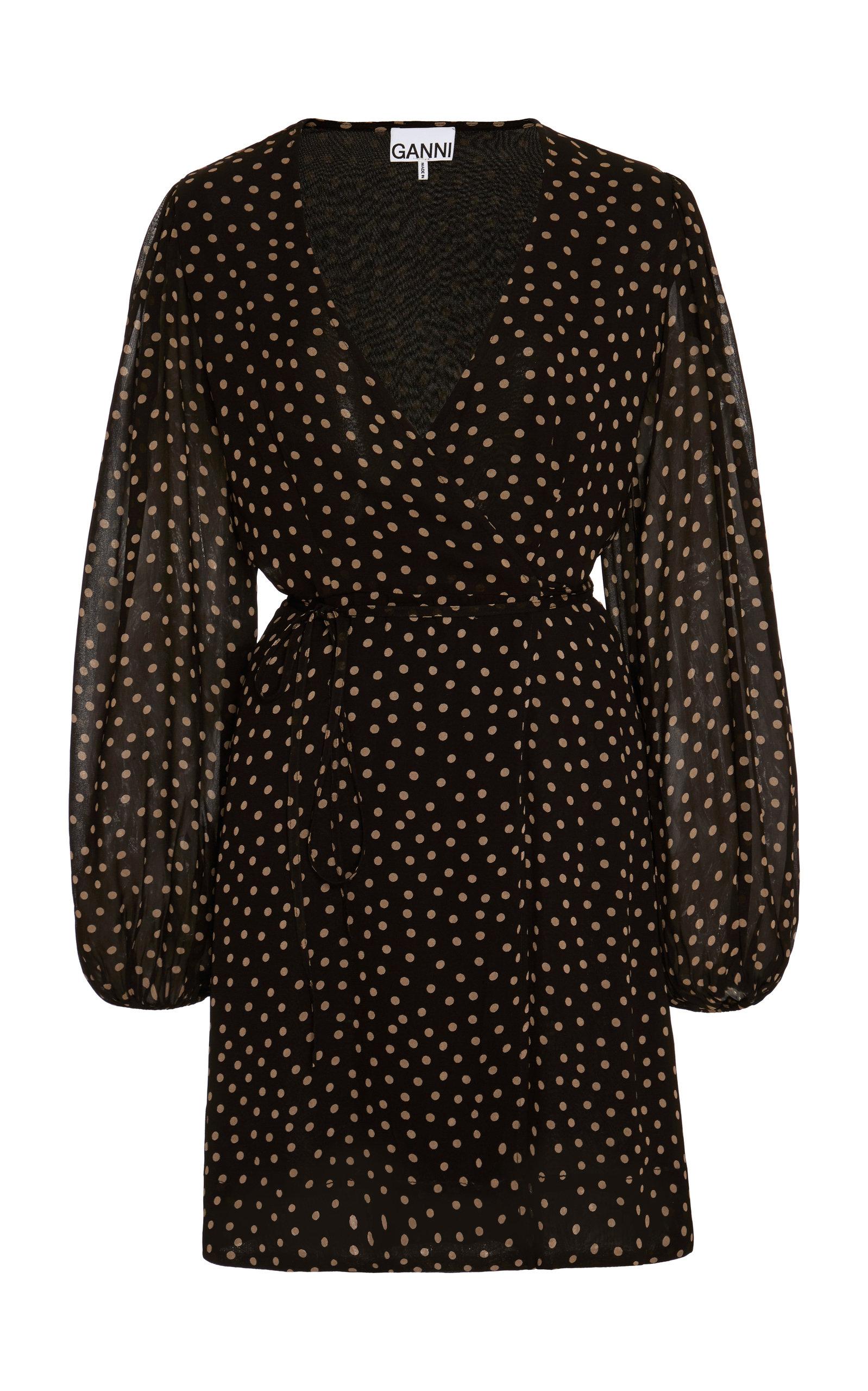 Buy Ganni Polka-Dot Georgette Mini Wrap Dress online, shop Ganni at the best price