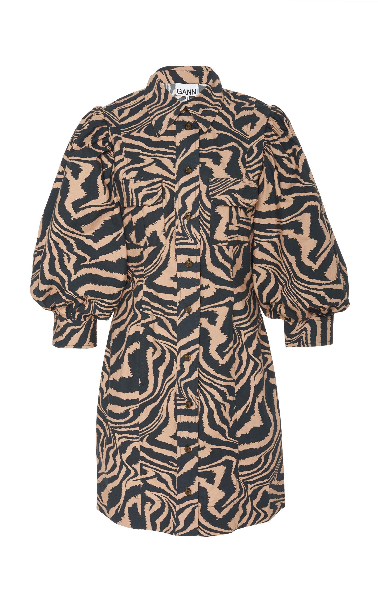 Buy Ganni Zebra-Print Poplin Mini Dress online, shop Ganni at the best price