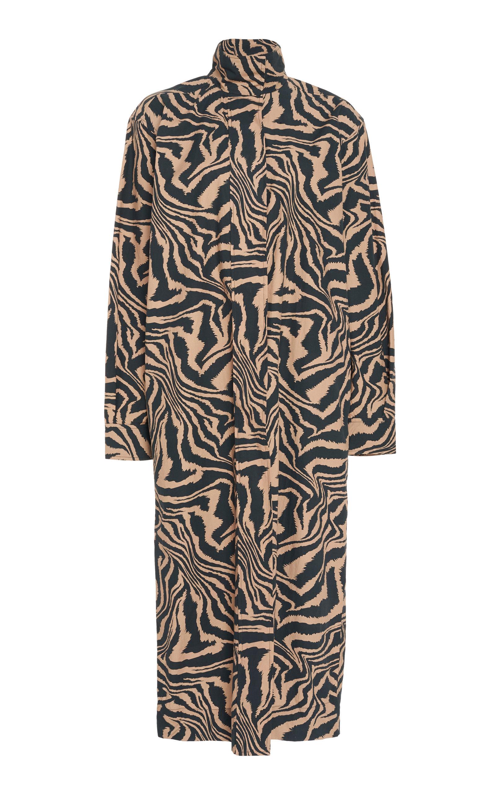 Buy Ganni Animal-Print Cotton-Poplin Midi Dress online, shop Ganni at the best price