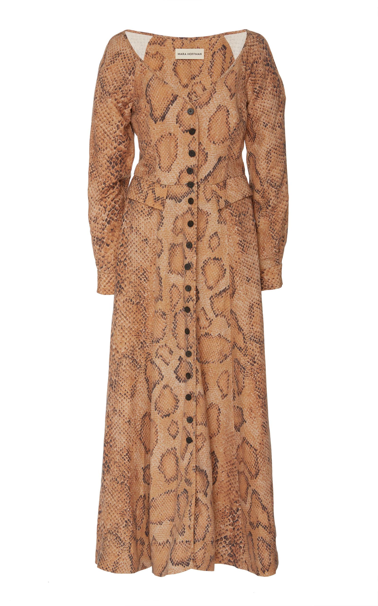 Buy Mara Hoffman Silvana Snake-Print Linen-Blend Maxi Dress online, shop Mara Hoffman at the best price
