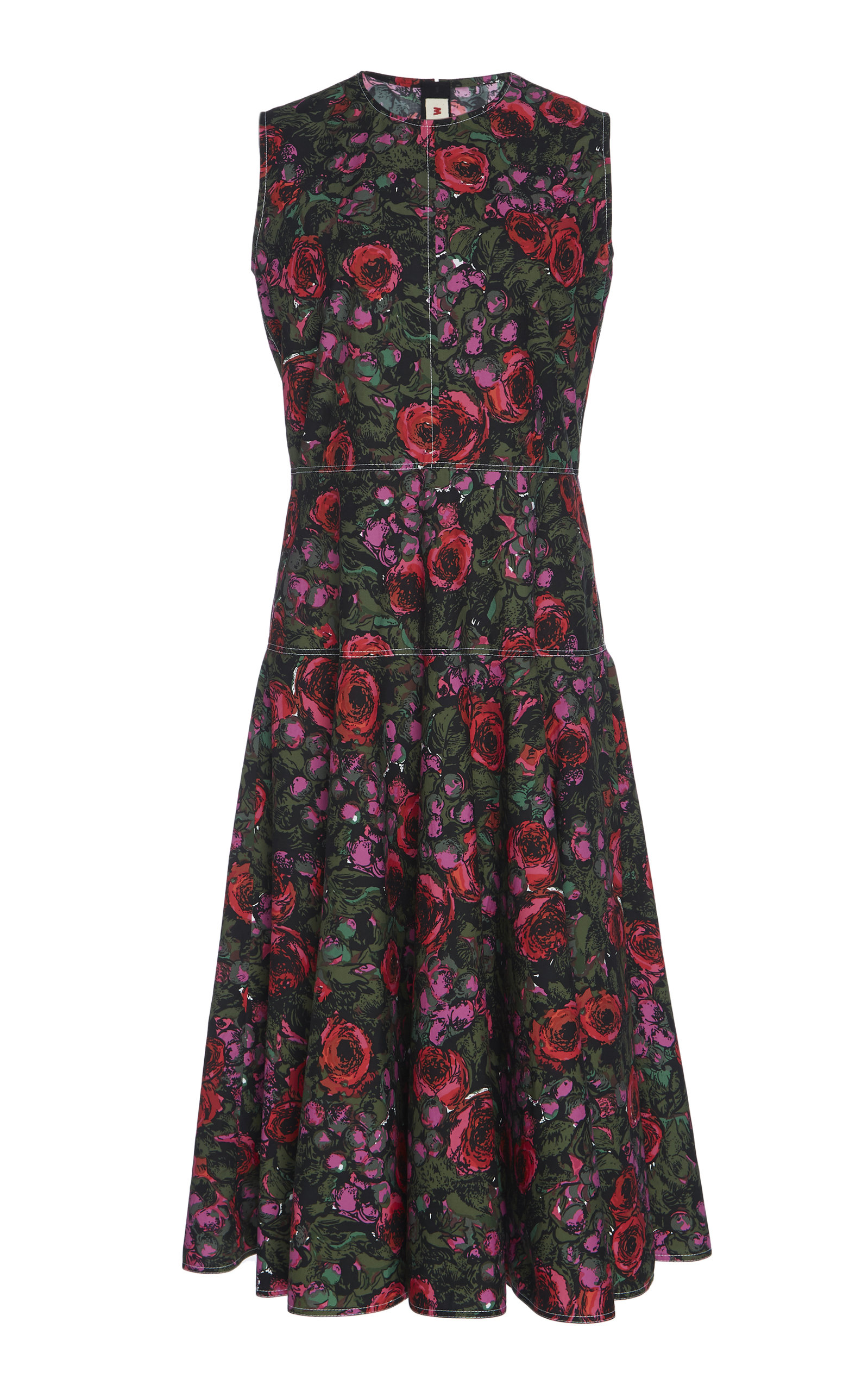 Buy Marni Floral Cotton Flared Dress online, shop Marni at the best price