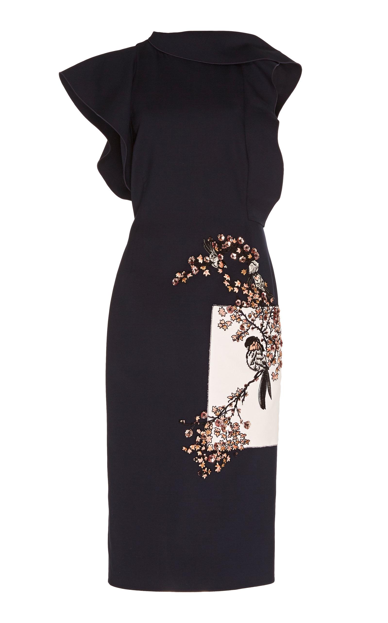 Buy Oscar de la Renta Embellished Ruffled Wool-Blend Midi Dress online, shop Oscar de la Renta at the best price