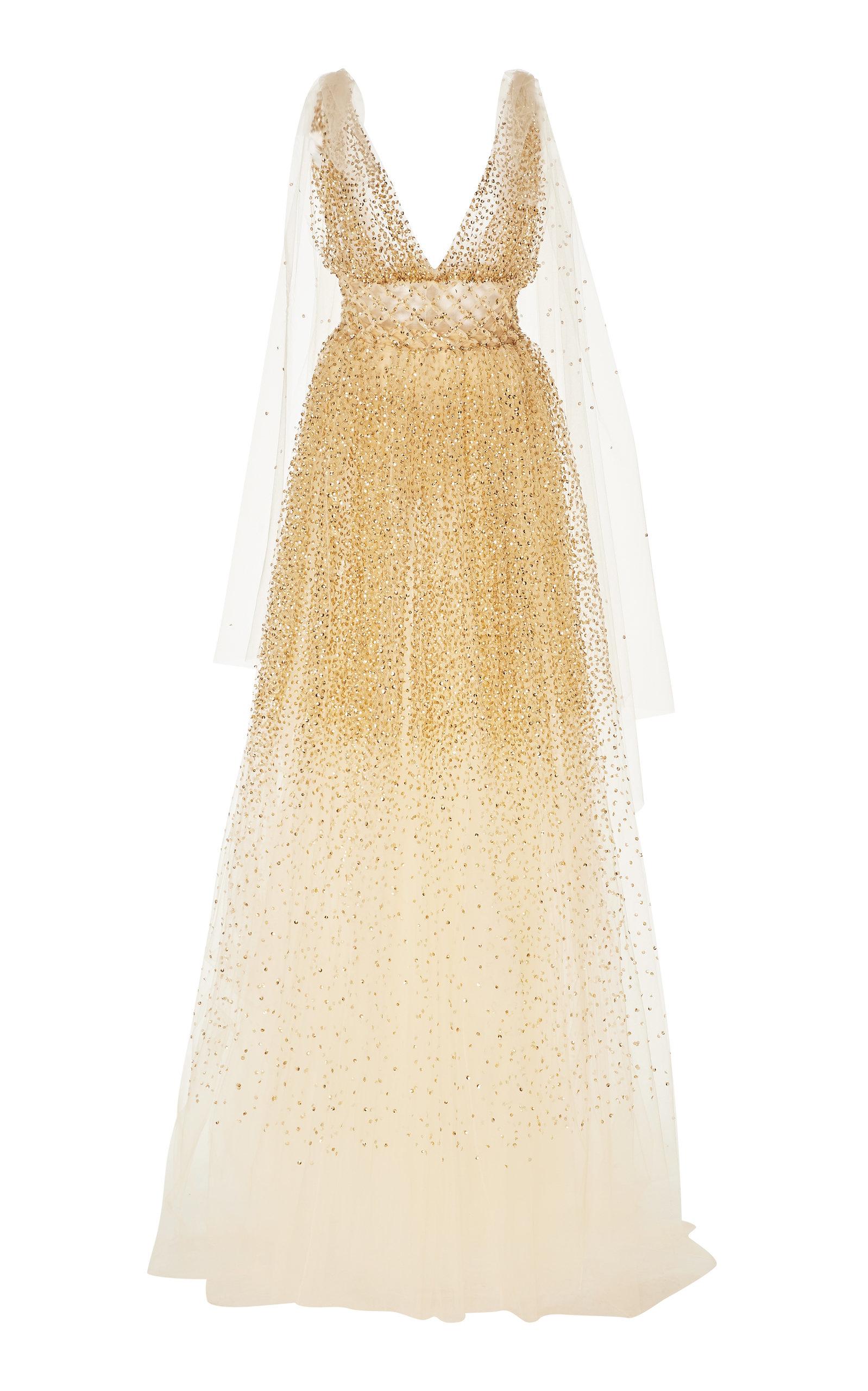 Buy Oscar de la Renta Crystal-Embellished Tulle Gown online, shop Oscar de la Renta at the best price