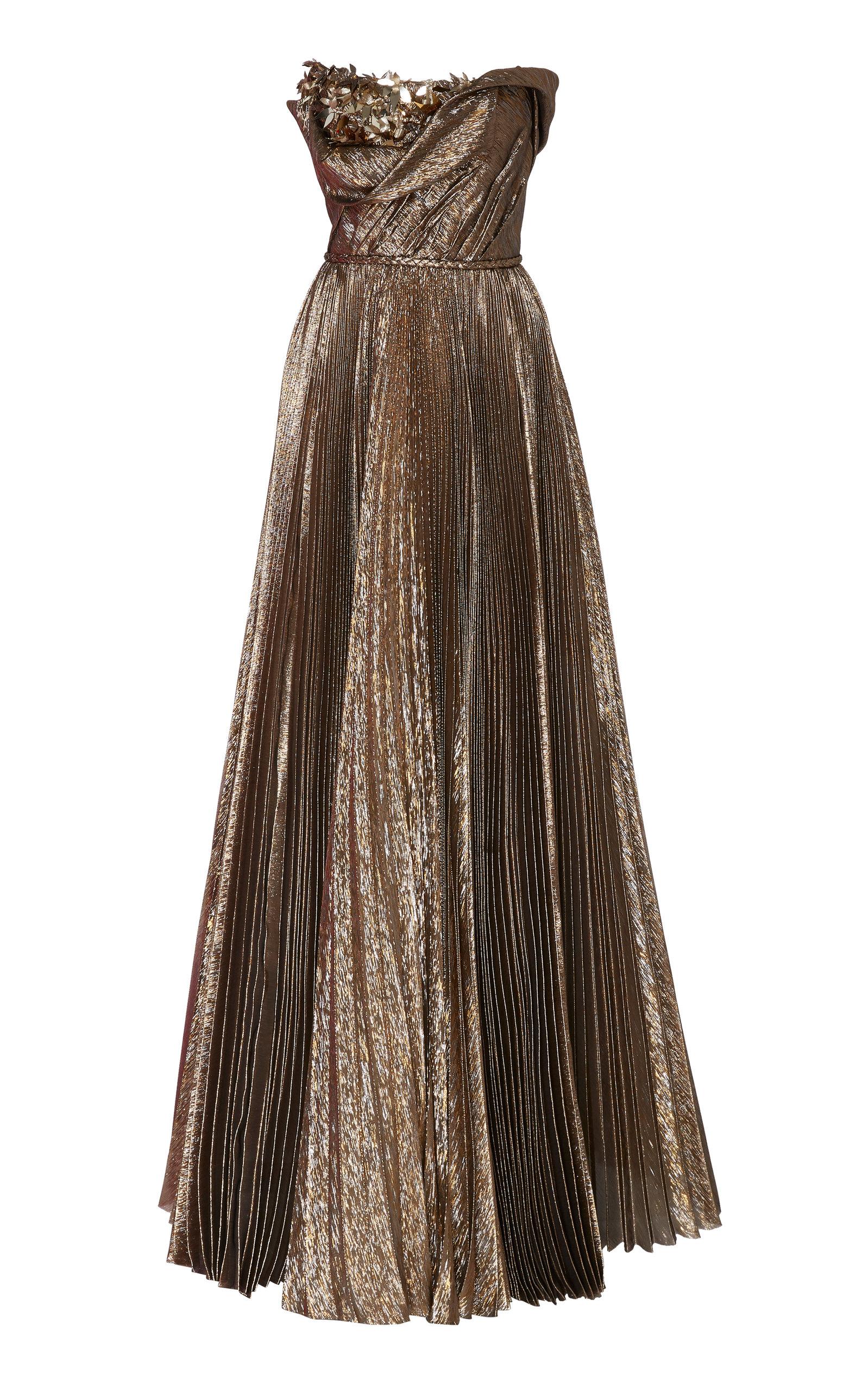 Buy Oscar de la Renta Floral Embellished Silk-Blend Strapless Gown online, shop Oscar de la Renta at the best price