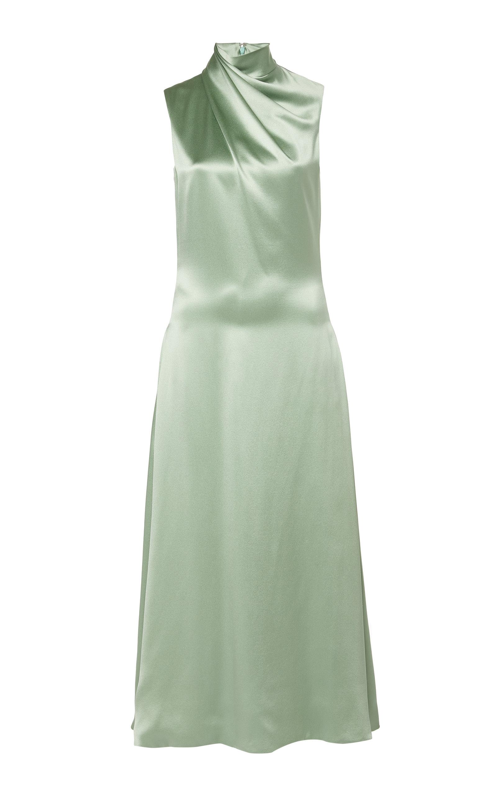 Buy Brandon Maxwell Draped Silk-Satin Midi Dress online, shop Brandon Maxwell at the best price