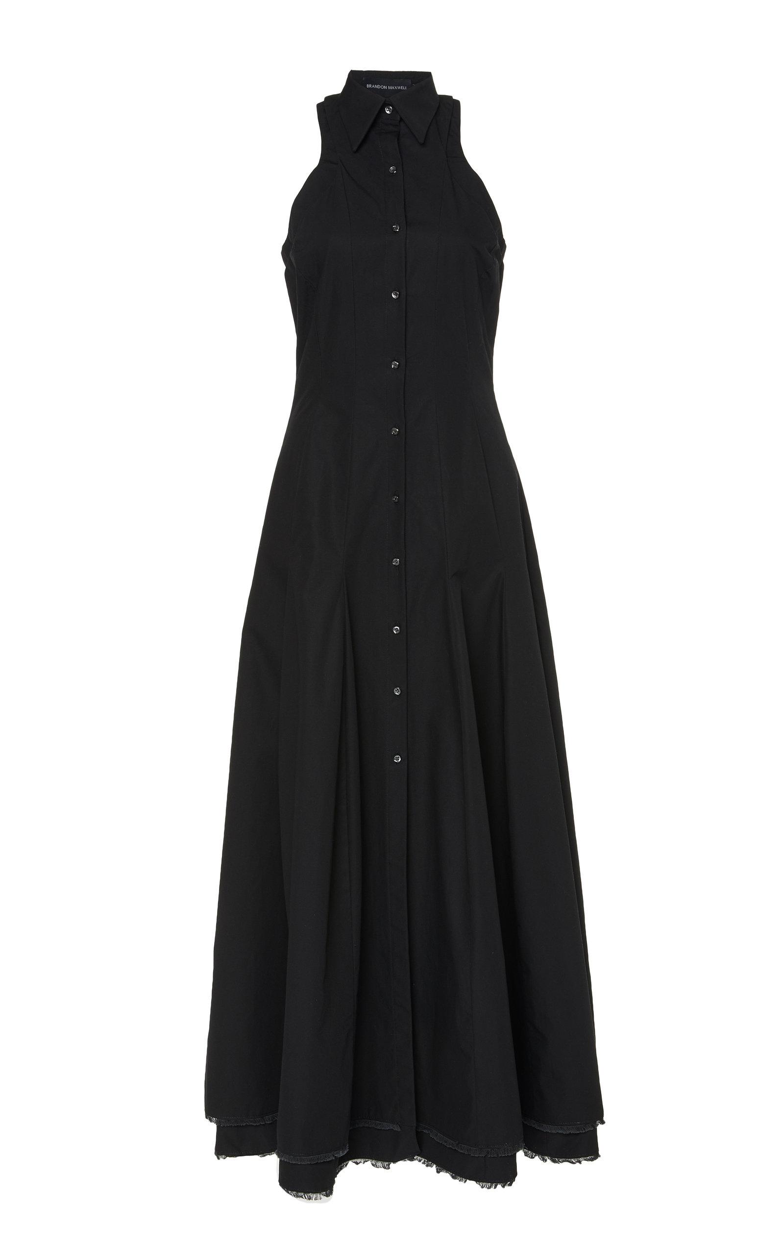 Buy Brandon Maxwell Frayed Cotton-Poplin Maxi Dress online, shop Brandon Maxwell at the best price