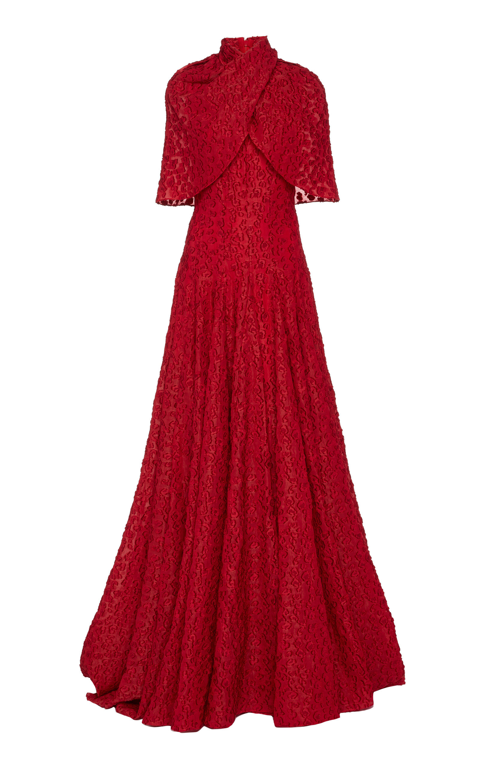 Buy Brandon Maxwell Cape-Effect Fil Coupé Gown online, shop Brandon Maxwell at the best price