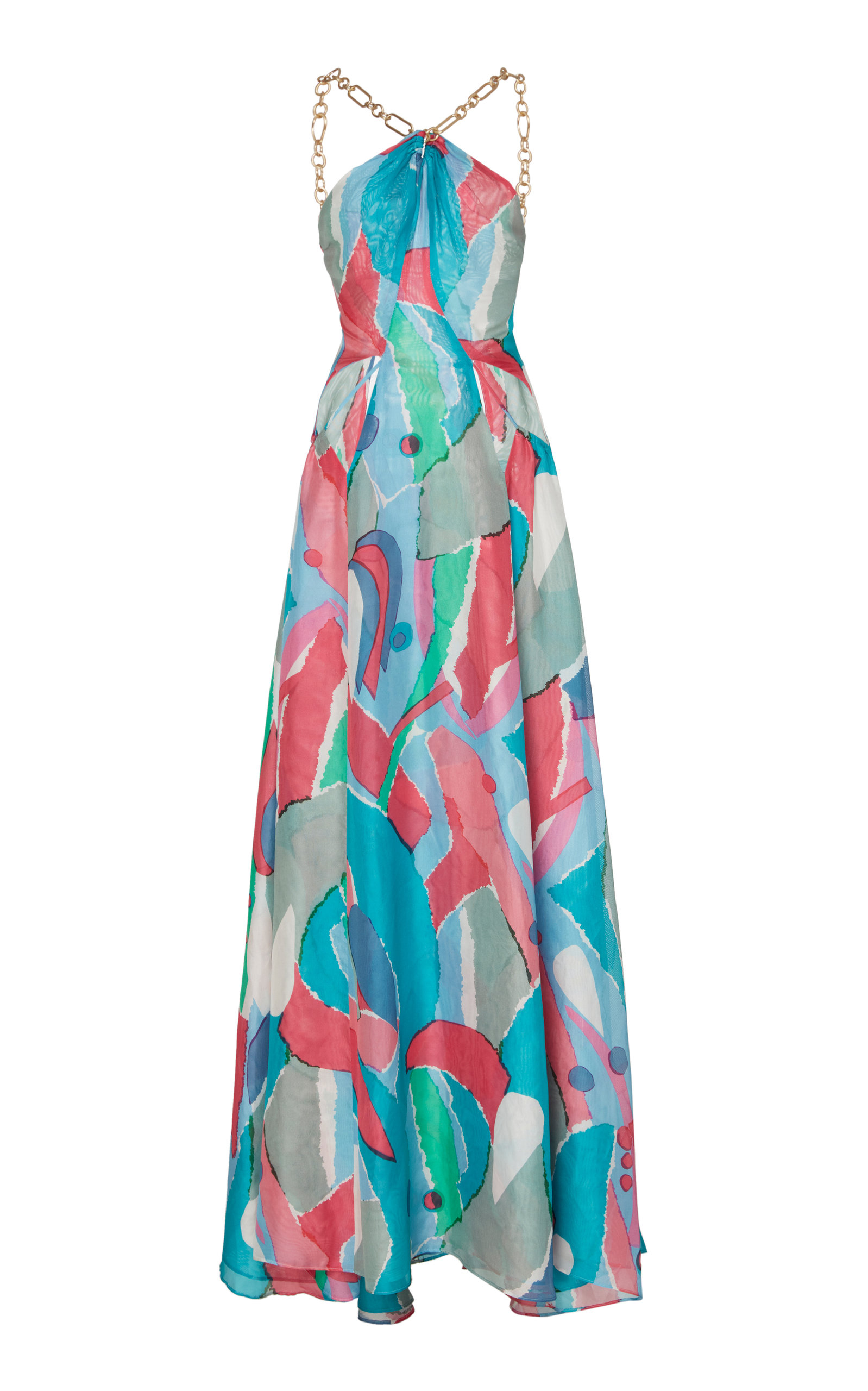 Buy Cult Gaia Althea Chain-Embellished Printed Chiffon Maxi Dress online, shop Cult Gaia at the best price