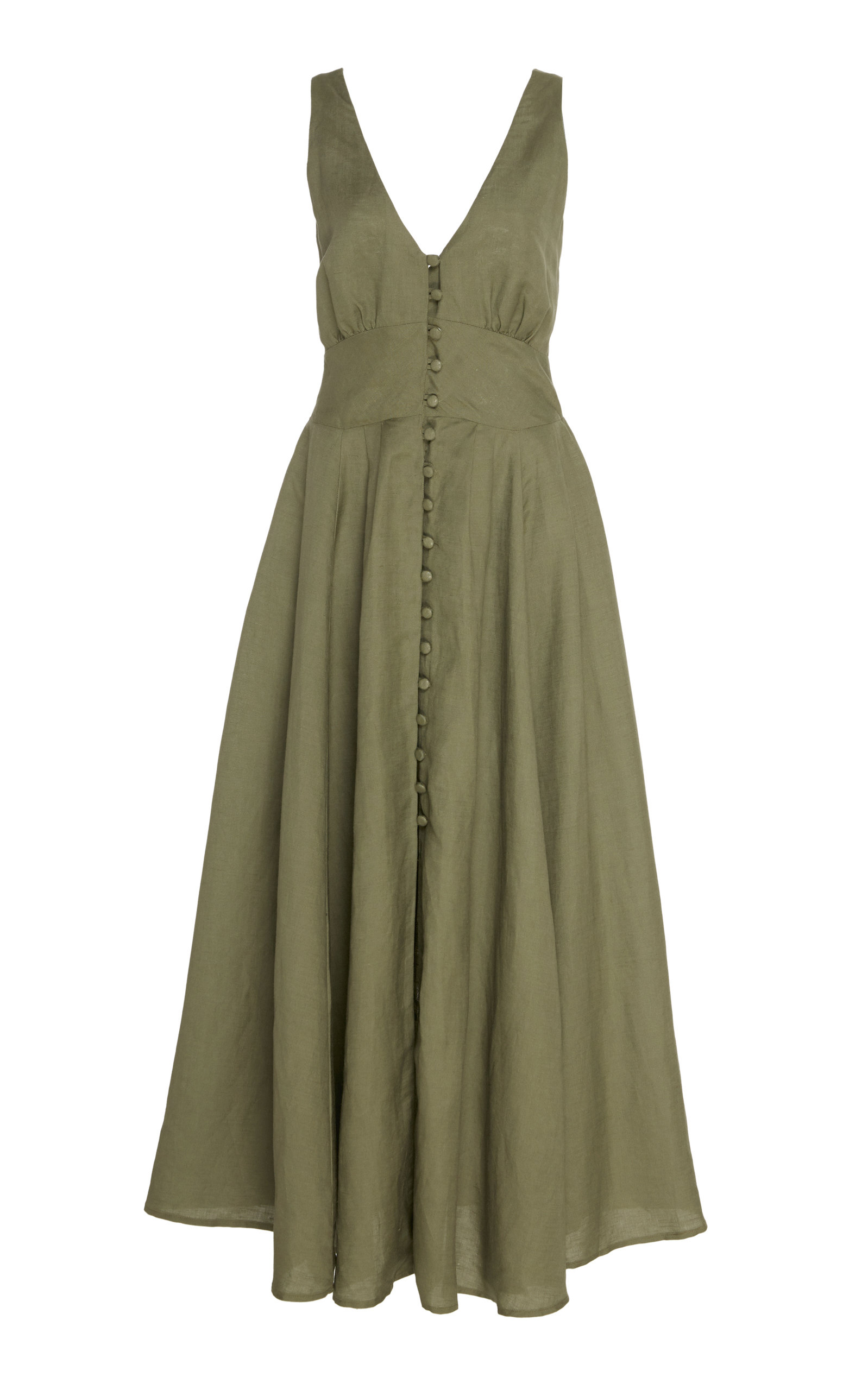 Buy Cult Gaia Angela Buckle-Detailed Linen Midi Dress online, shop Cult Gaia at the best price
