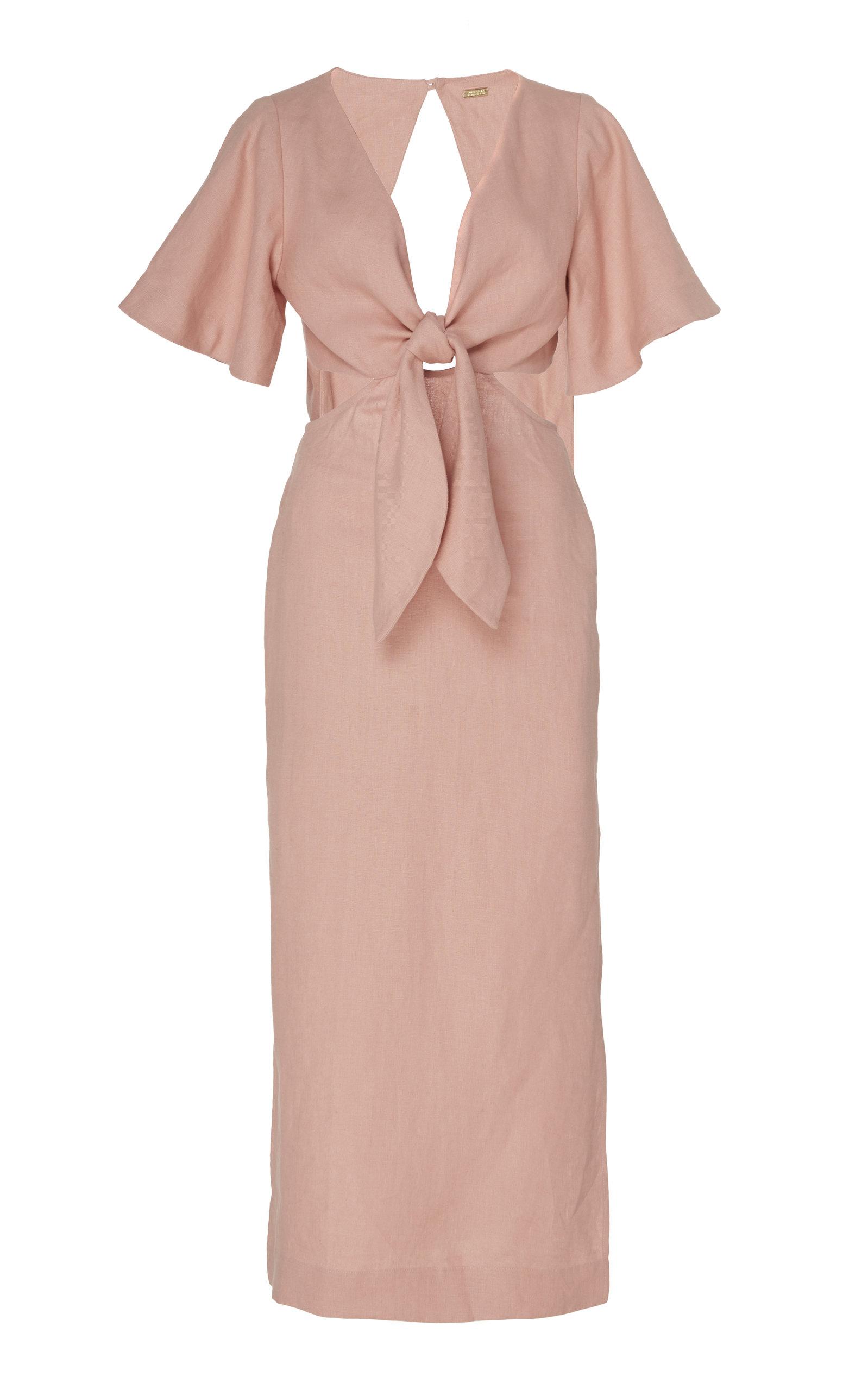 Buy Cult Gaia Maya Cutout Linen Midi Dress online, shop Cult Gaia at the best price