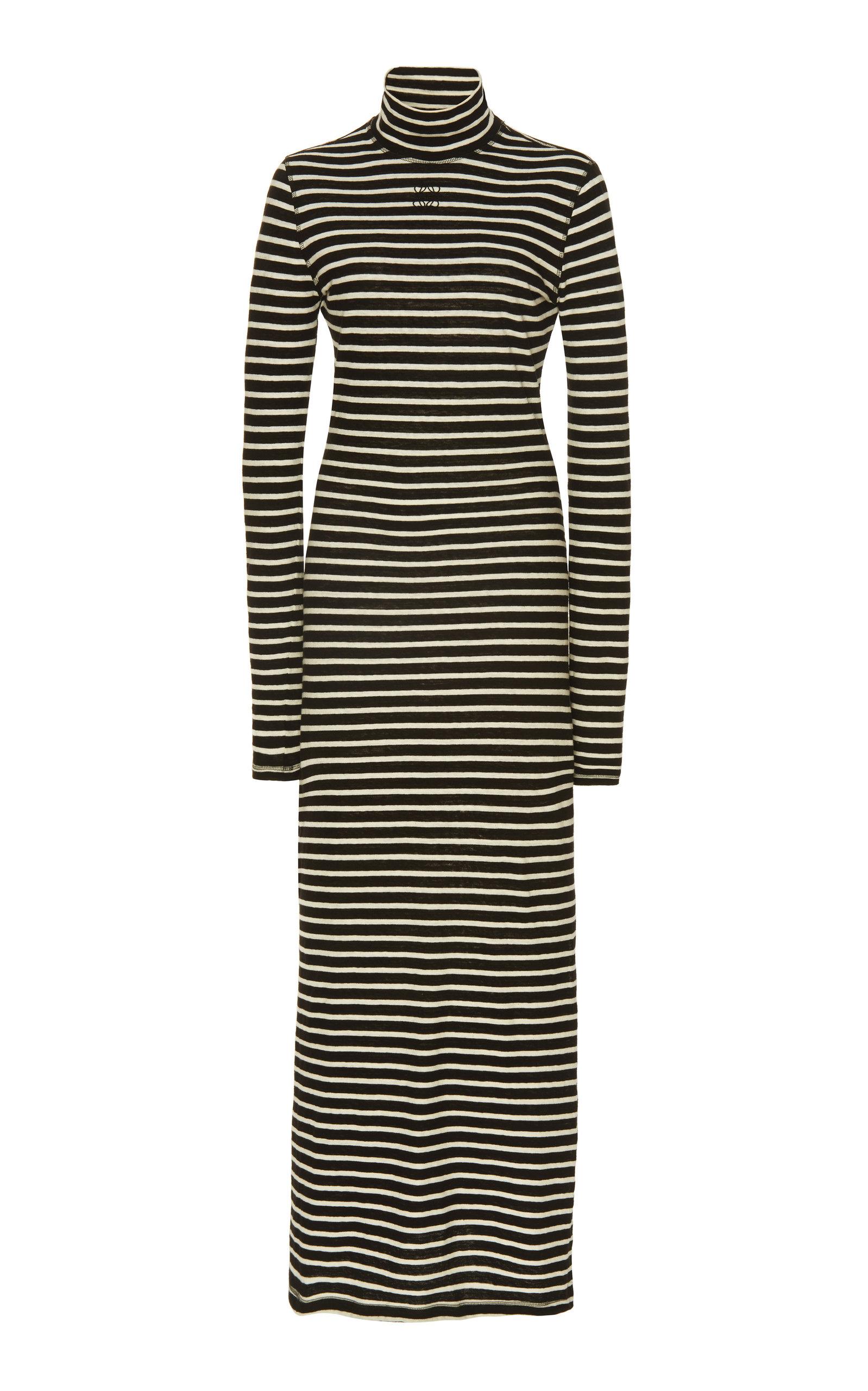 Buy Loewe Striped Cotton-Jersey Turtleneck Maxi Dress online, shop Loewe at the best price