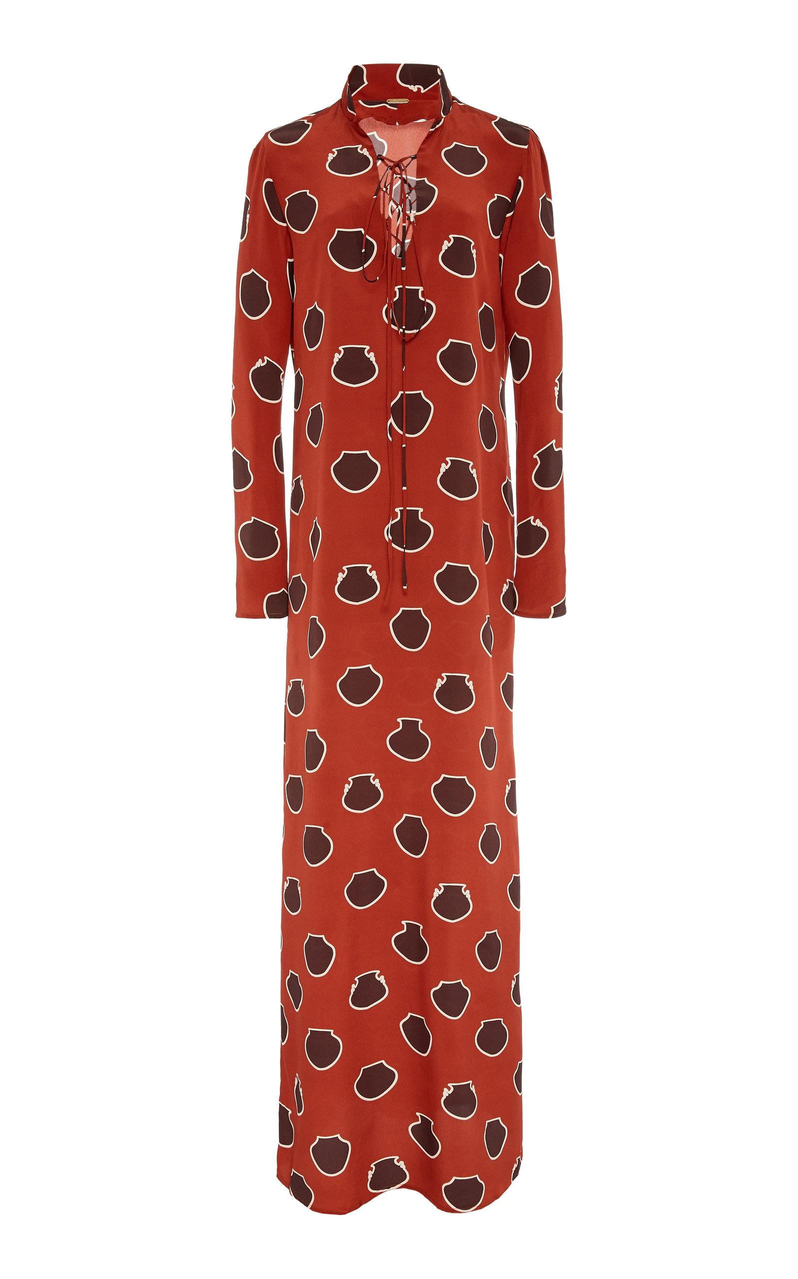 Buy Johanna Ortiz Lace-Up Polka-Dot Silk-Crepe De Chine Maxi Dress online, shop Johanna Ortiz at the best price