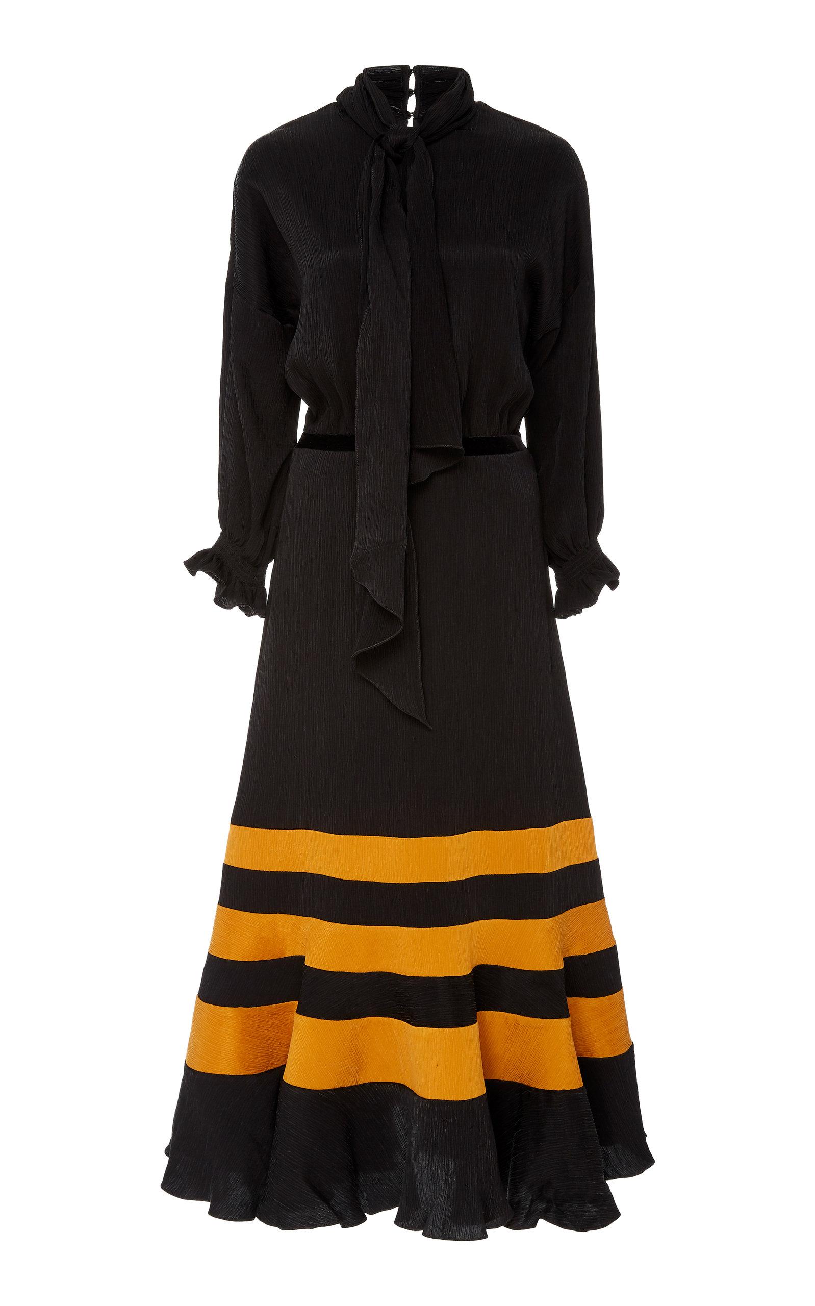 Buy Johanna Ortiz Scarf-Detailed Striped Satin Midi Dress online, shop Johanna Ortiz at the best price
