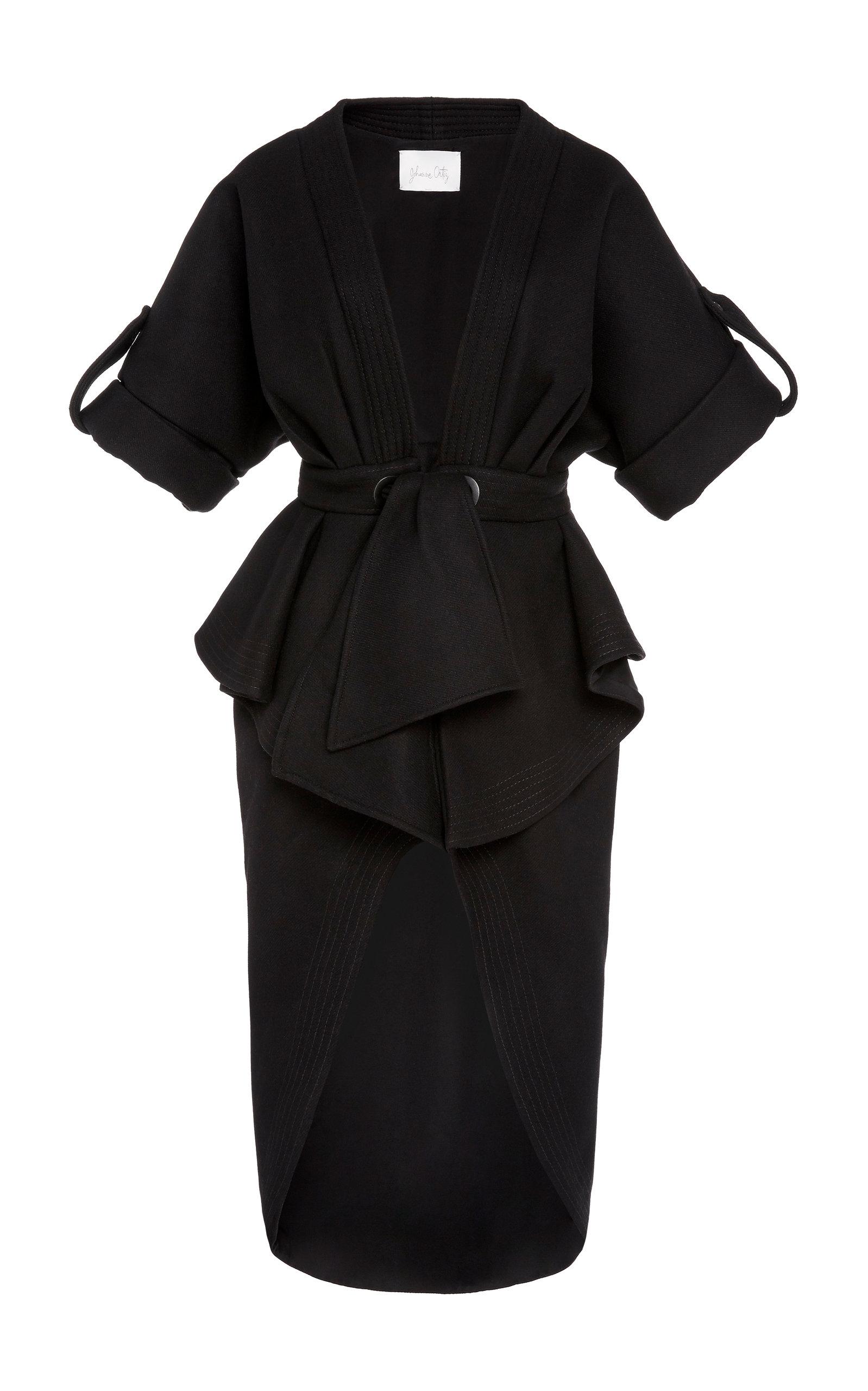 Buy Johanna Ortiz Glorious Finding Wool-Blend Crepe Peplum Midi Dress online, shop Johanna Ortiz at the best price