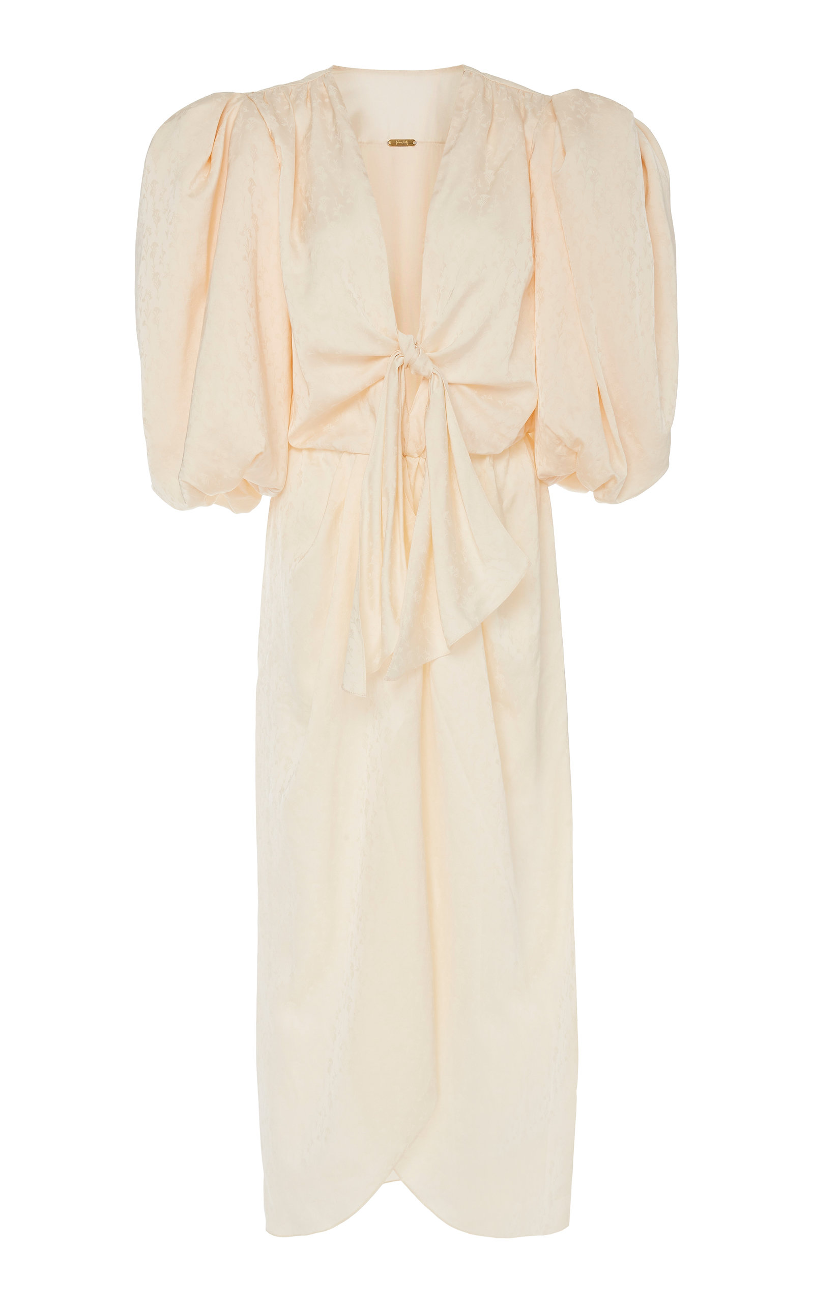 Buy Johanna Ortiz Bow-Detailed Satin-Jacquard Midi Dress online, shop Johanna Ortiz at the best price