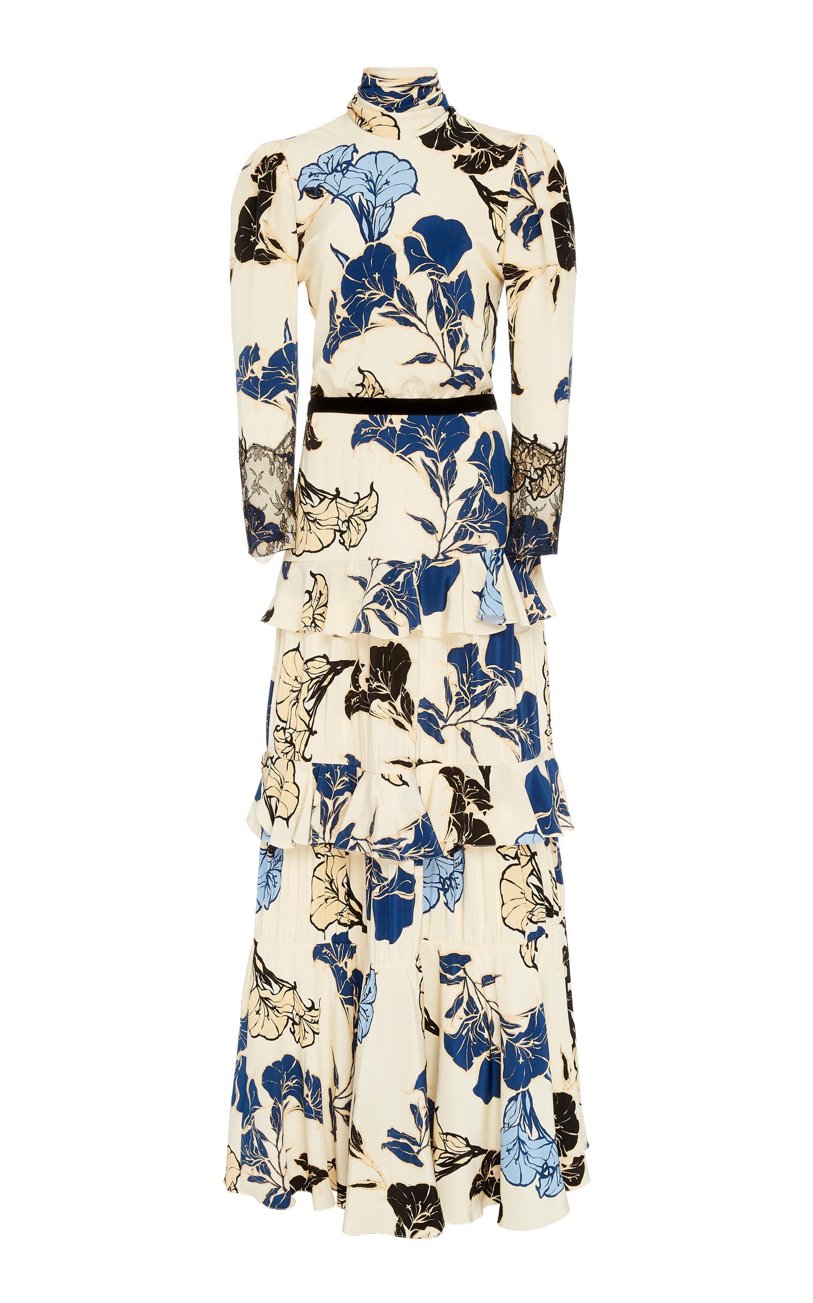 Buy Johanna Ortiz Sheer Decoration Floral Silk Maxi Dress online, shop Johanna Ortiz at the best price