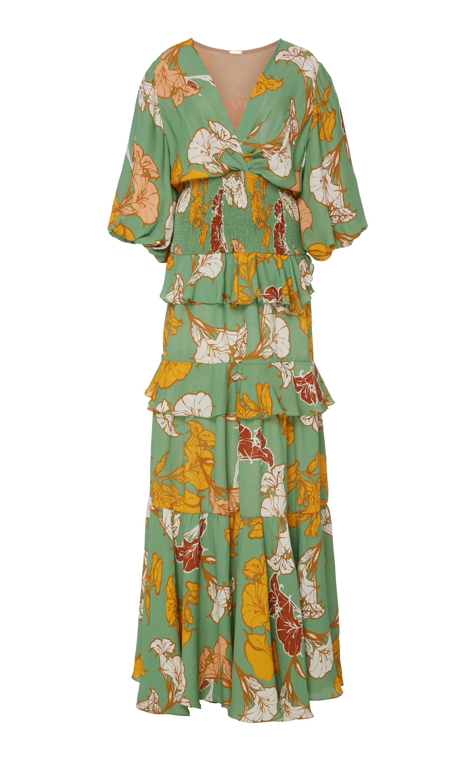Buy Johanna Ortiz Voilà, It'S Art Tiered Floral Maxi Dress online, shop Johanna Ortiz at the best price