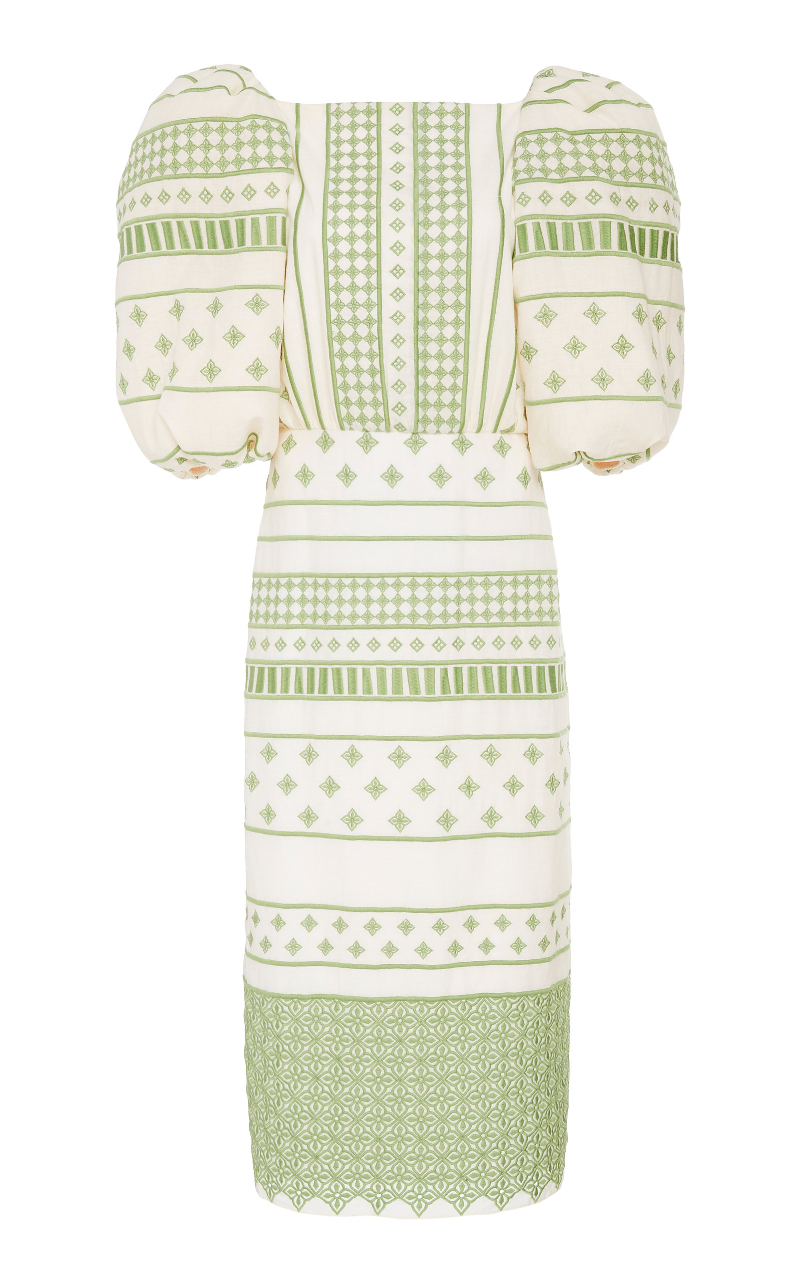 Buy Johanna Ortiz Pre-Columbian Culture Embroidered Cotton-Voile Midi Dres online, shop Johanna Ortiz at the best price