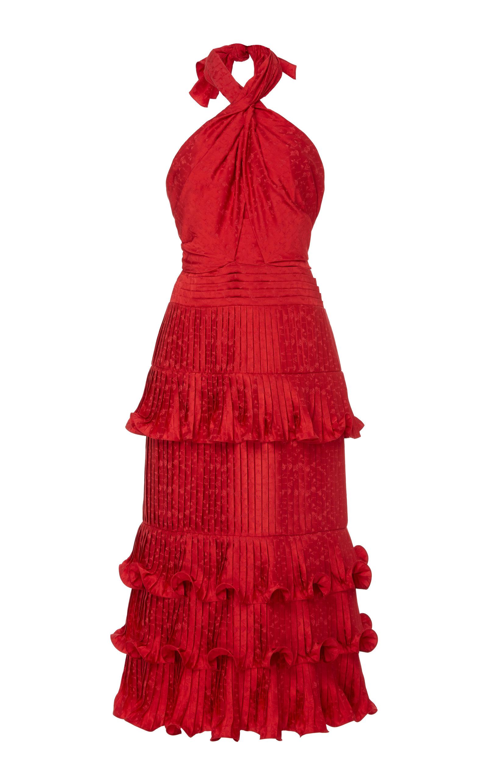 Buy Johanna Ortiz Ruffled Floral-Satin Jacquard Halterneck Midi Dress online, shop Johanna Ortiz at the best price