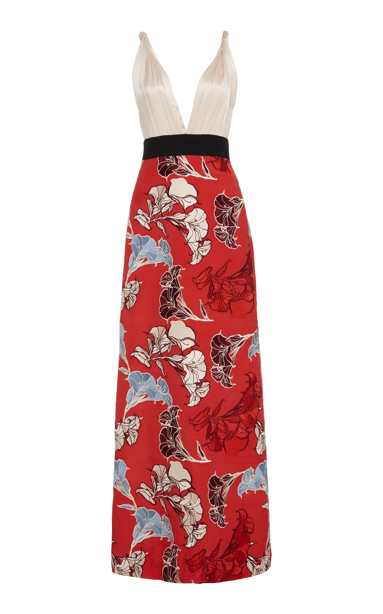 Buy Johanna Ortiz Floral-Embroidered Jacquard Gown online, shop Johanna Ortiz at the best price