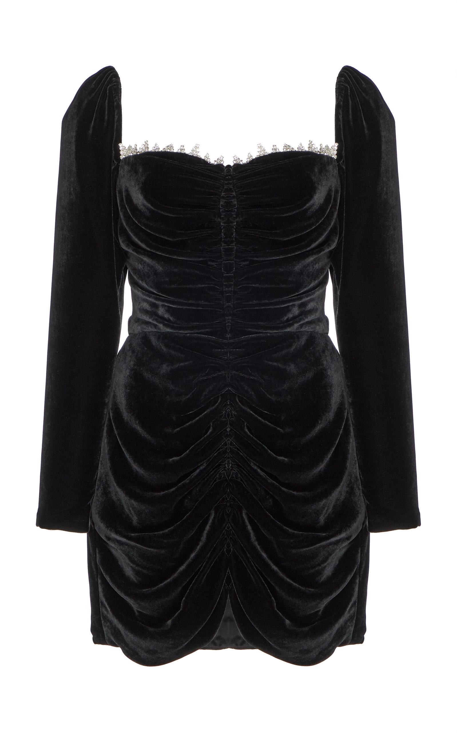 Buy Markarian Crawford Crystal-Embellished Ruched Velvet Mini Dress online, shop Markarian at the best price