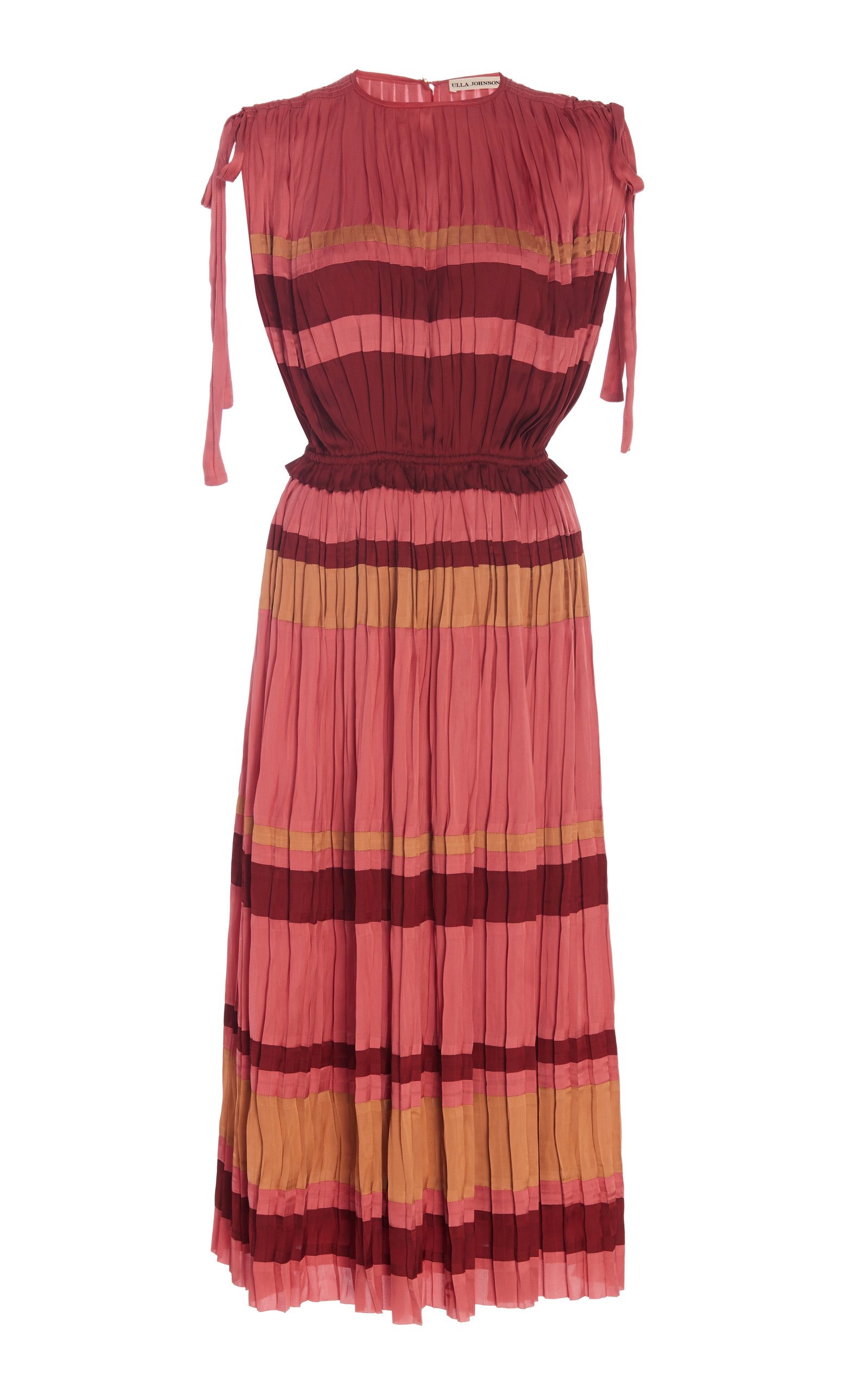 Buy Ulla Johnson Alessa Striped Plissé-Satin Midi Dress online, shop Ulla Johnson at the best price
