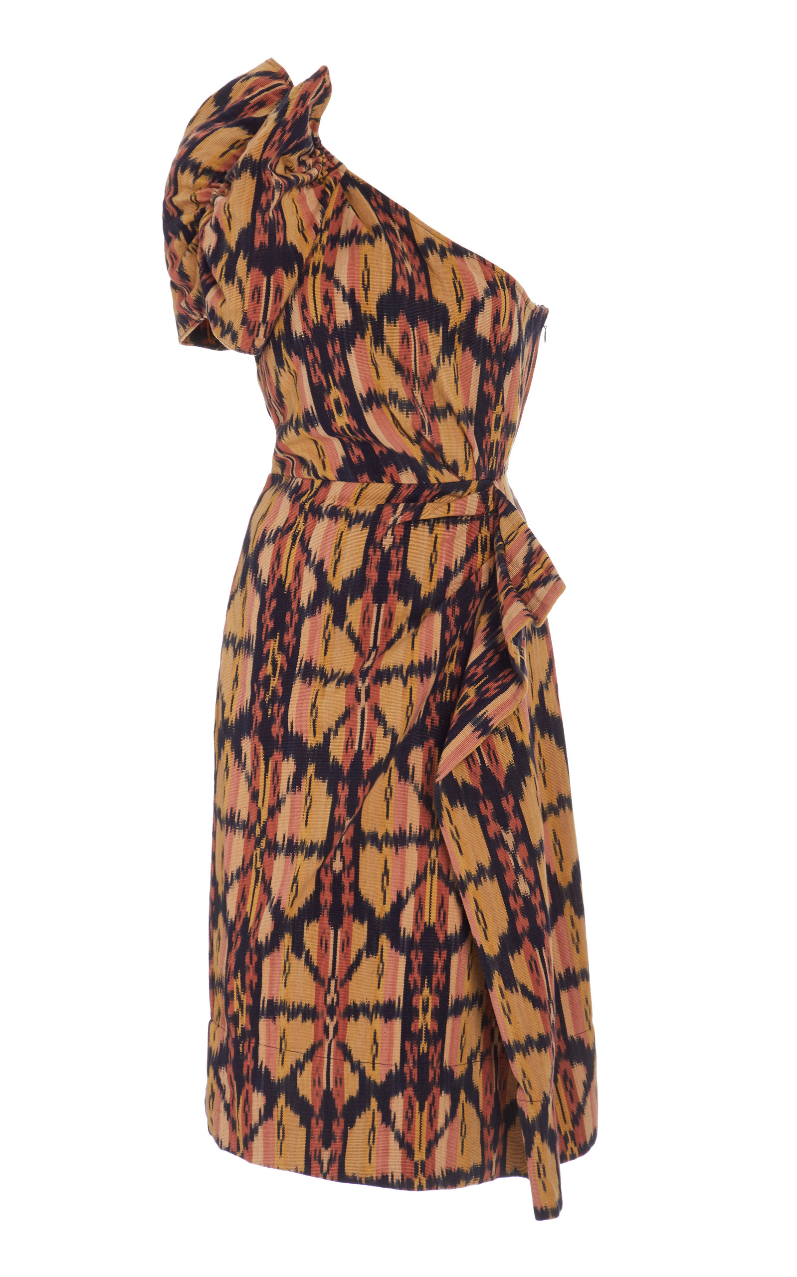 Buy Ulla Johnson Idra Ikat-Print Cotton One-Sleeve Dress online, shop Ulla Johnson at the best price