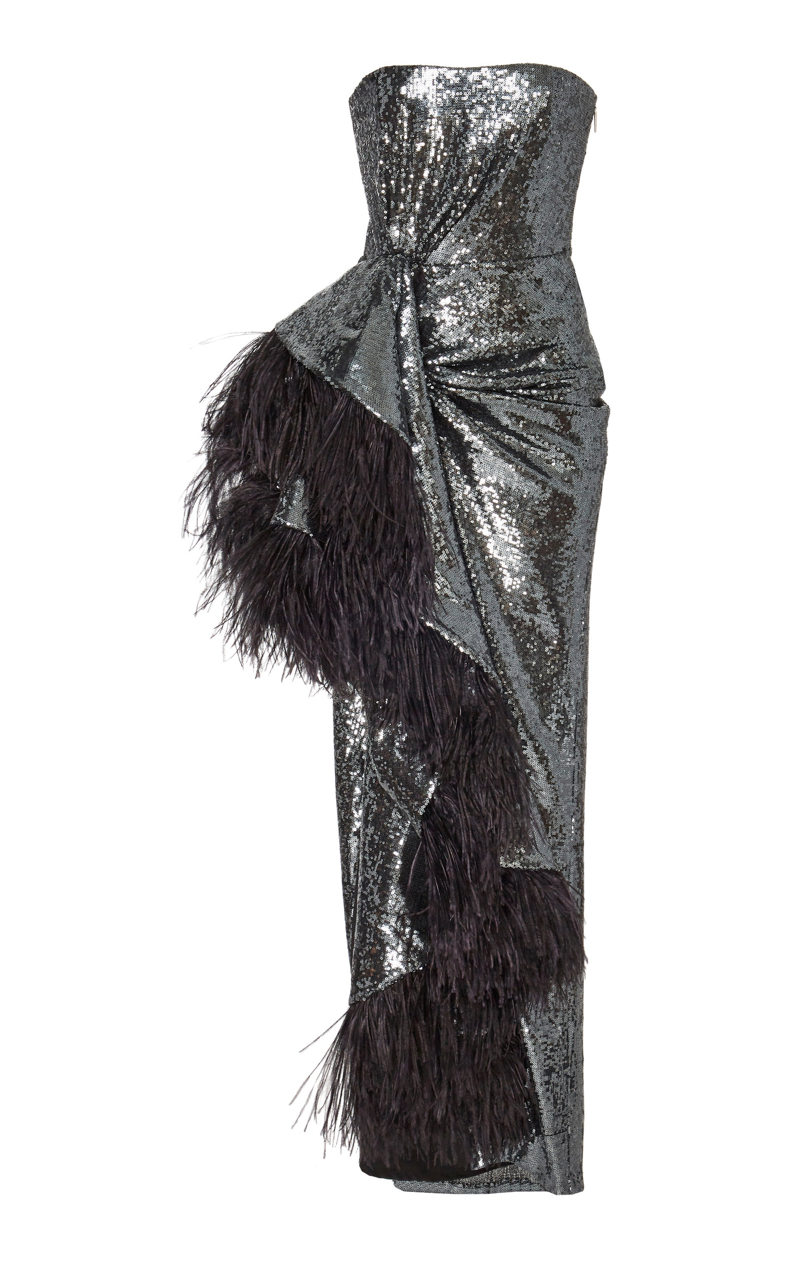 Buy Prabal Gurung Feather-Trimmed Sequined Crepe Gown online, shop Prabal Gurung at the best price