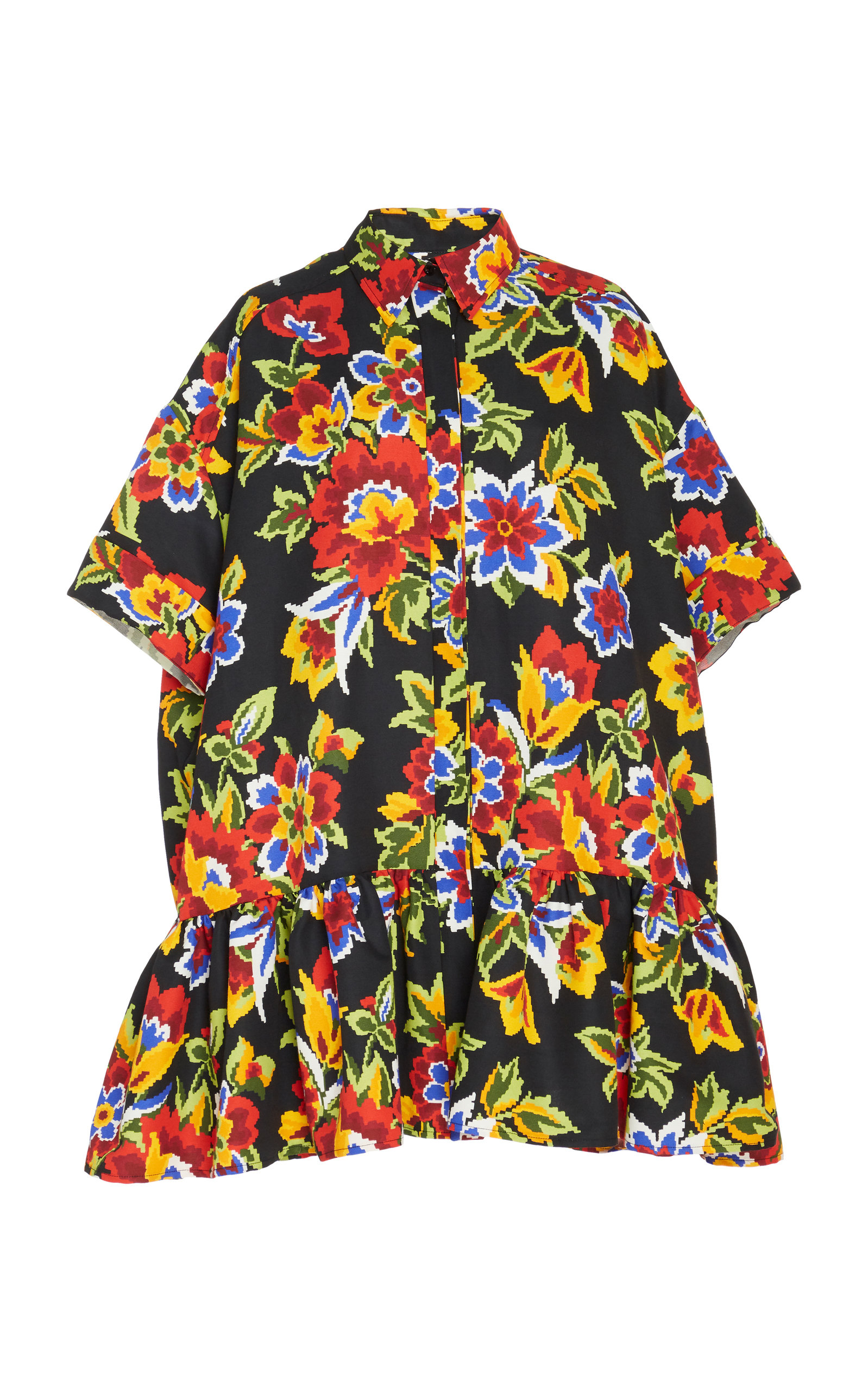 Buy Carolina Herrera Ruffled Floral-Print Cotton And Silk-Blend Dress online, shop Carolina Herrera at the best price