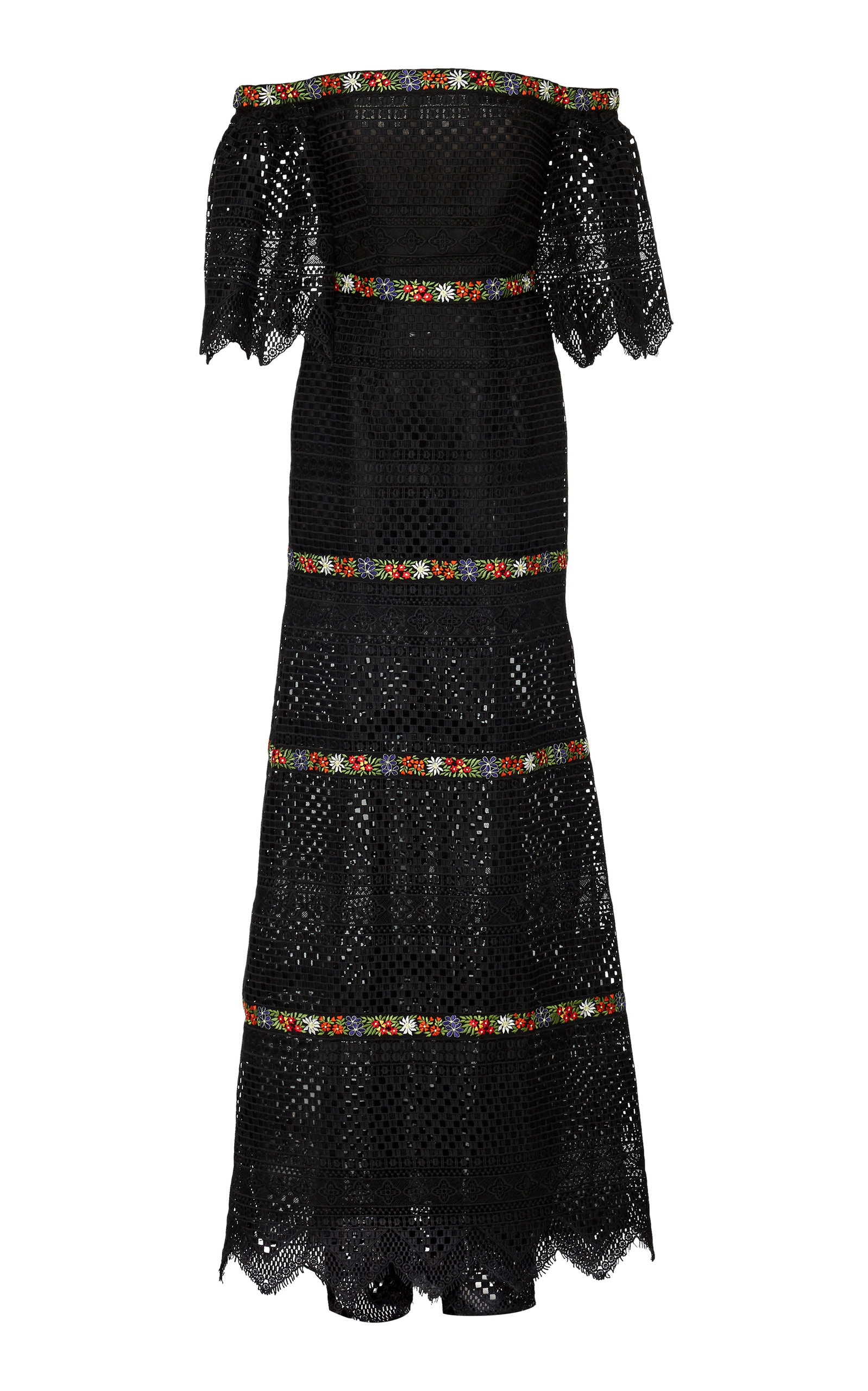 Buy Carolina Herrera Off-The-Shoulder Embroidered Guipure Lace Gown online, shop Carolina Herrera at the best price