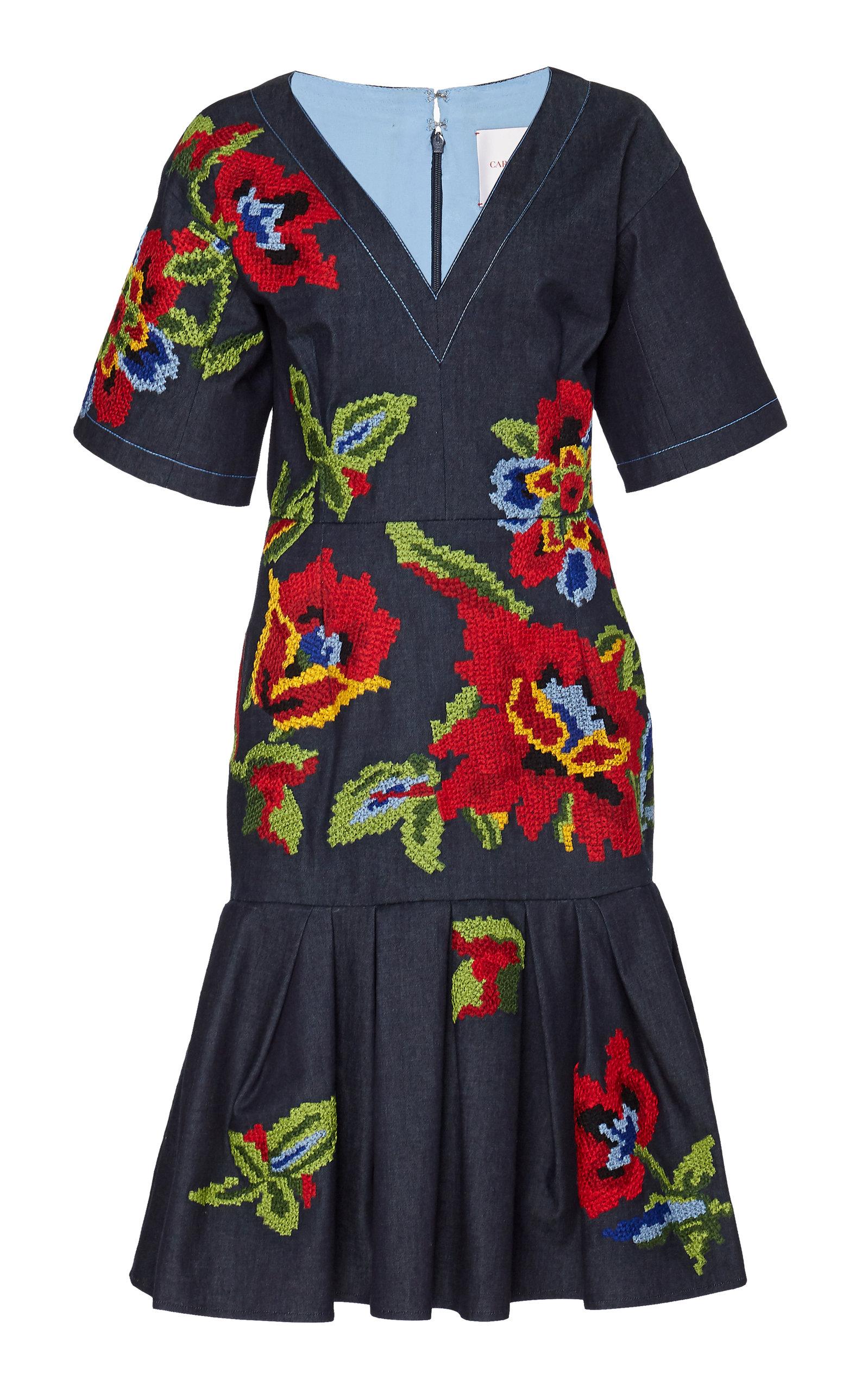 Buy Carolina Herrera Floral-Embroidered Stretch-Denim Dress online, shop Carolina Herrera at the best price