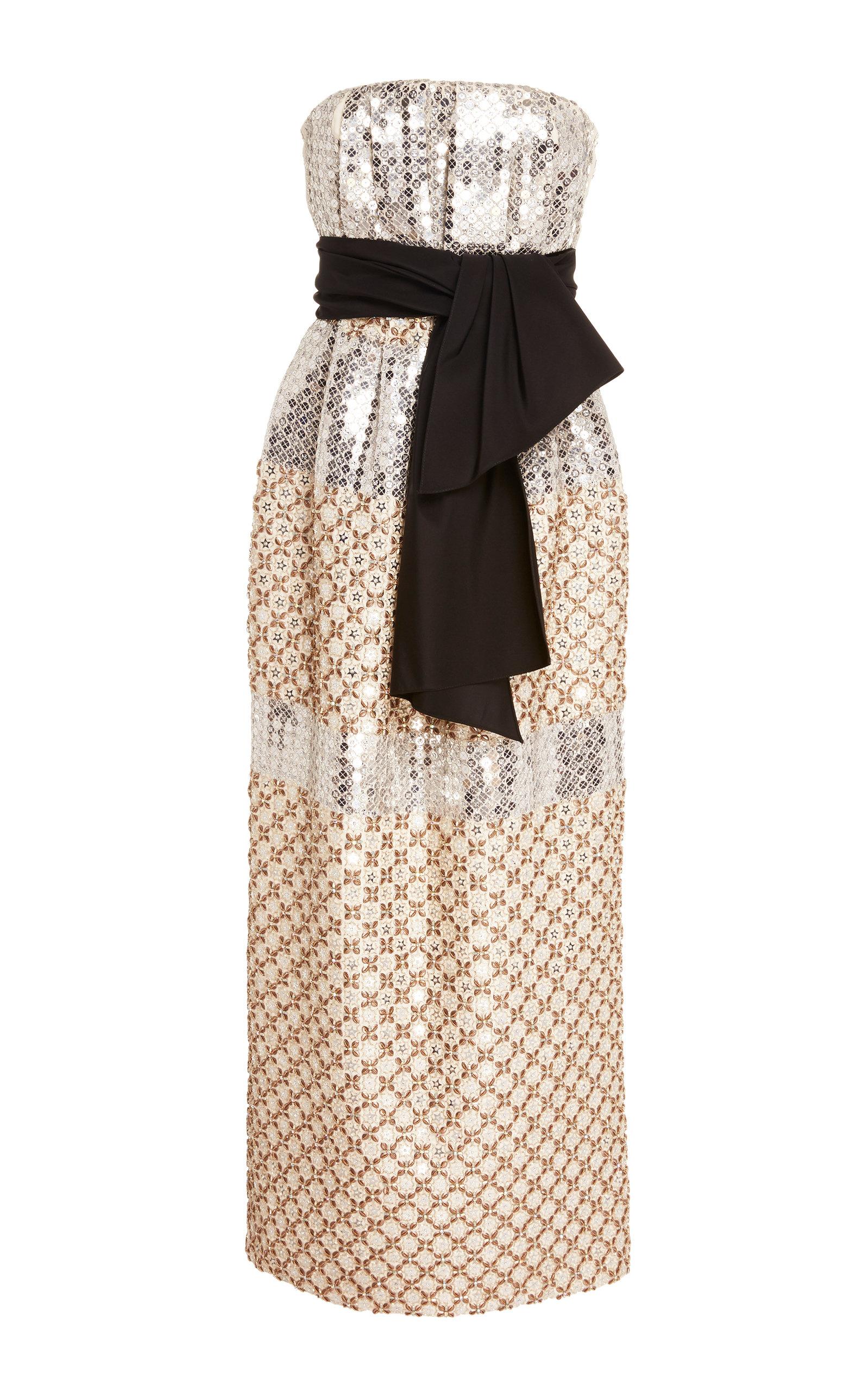 Buy Carolina Herrera Metallic Sequined Silk-Jacquard Midi Dress online, shop Carolina Herrera at the best price