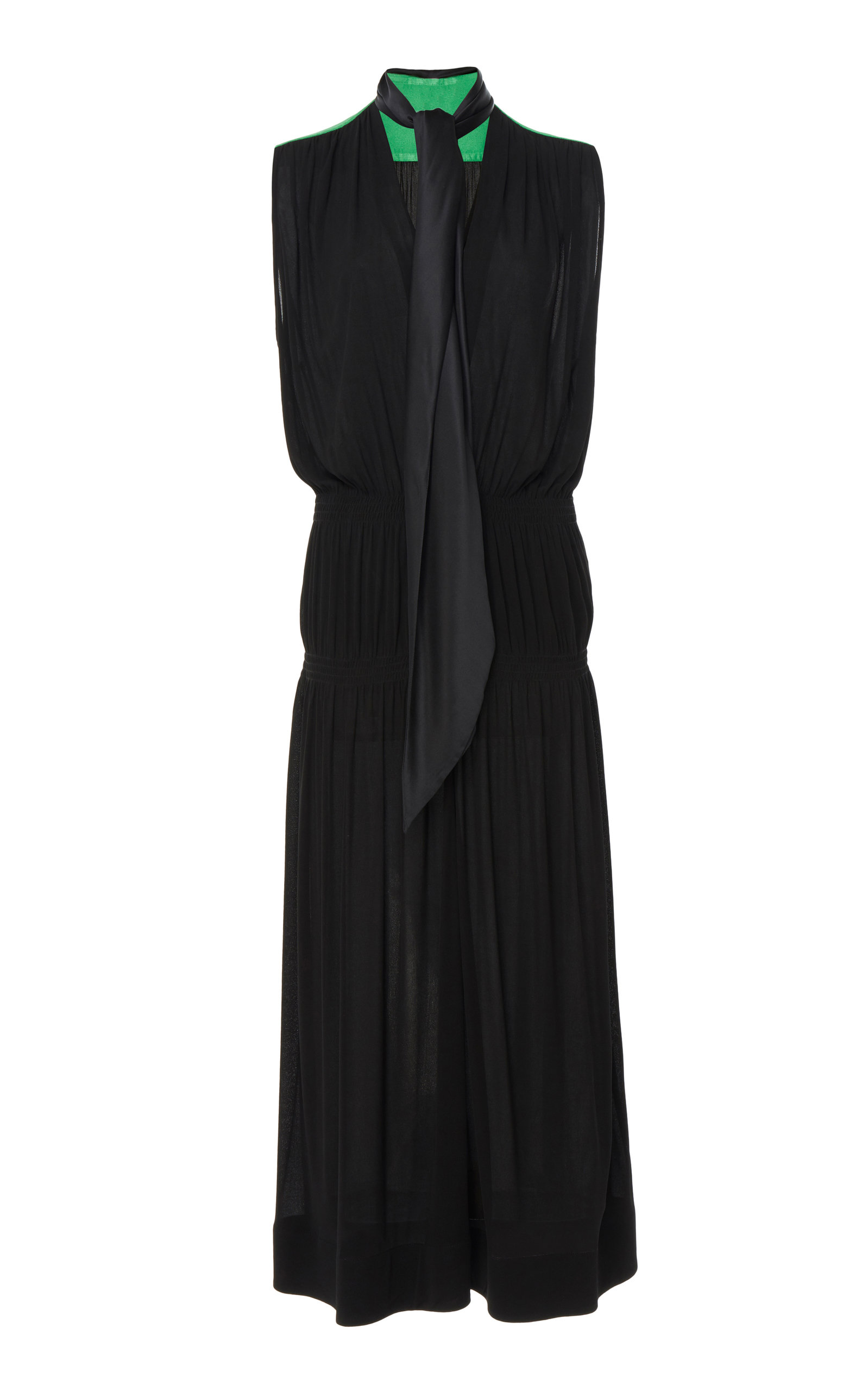 Buy Givenchy Two-Tone Tie-Detailed Georgette Midi Dress online, shop Givenchy at the best price