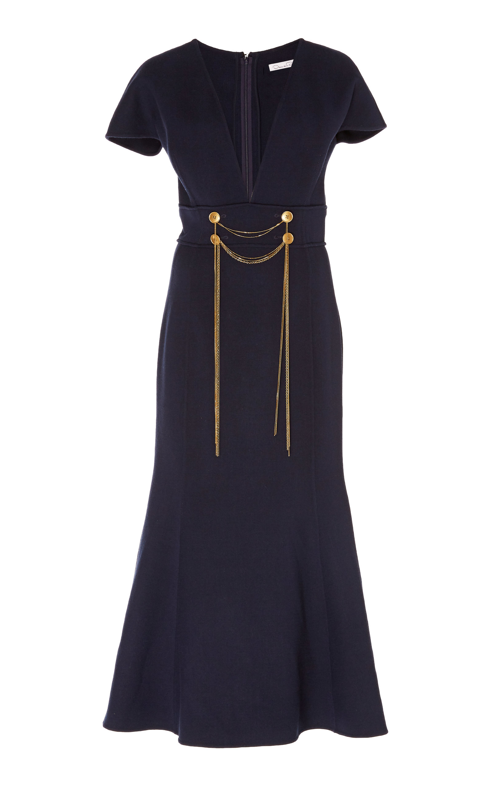 Buy Oscar de la Renta Embellished Wool-Blend Midi Dress online, shop Oscar de la Renta at the best price