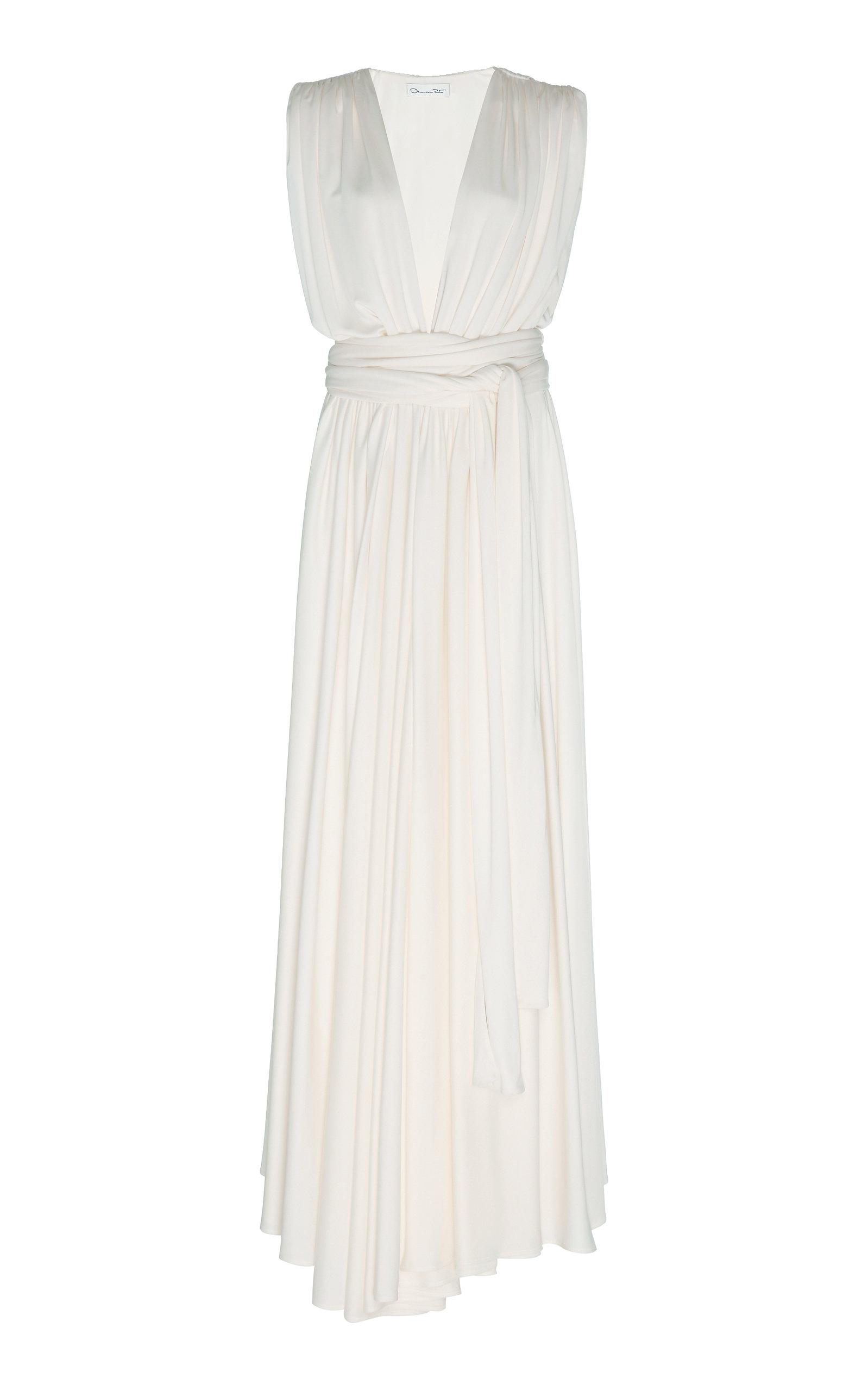 Buy Oscar de la Renta Gathered Jersey Maxi Dress online, shop Oscar de la Renta at the best price