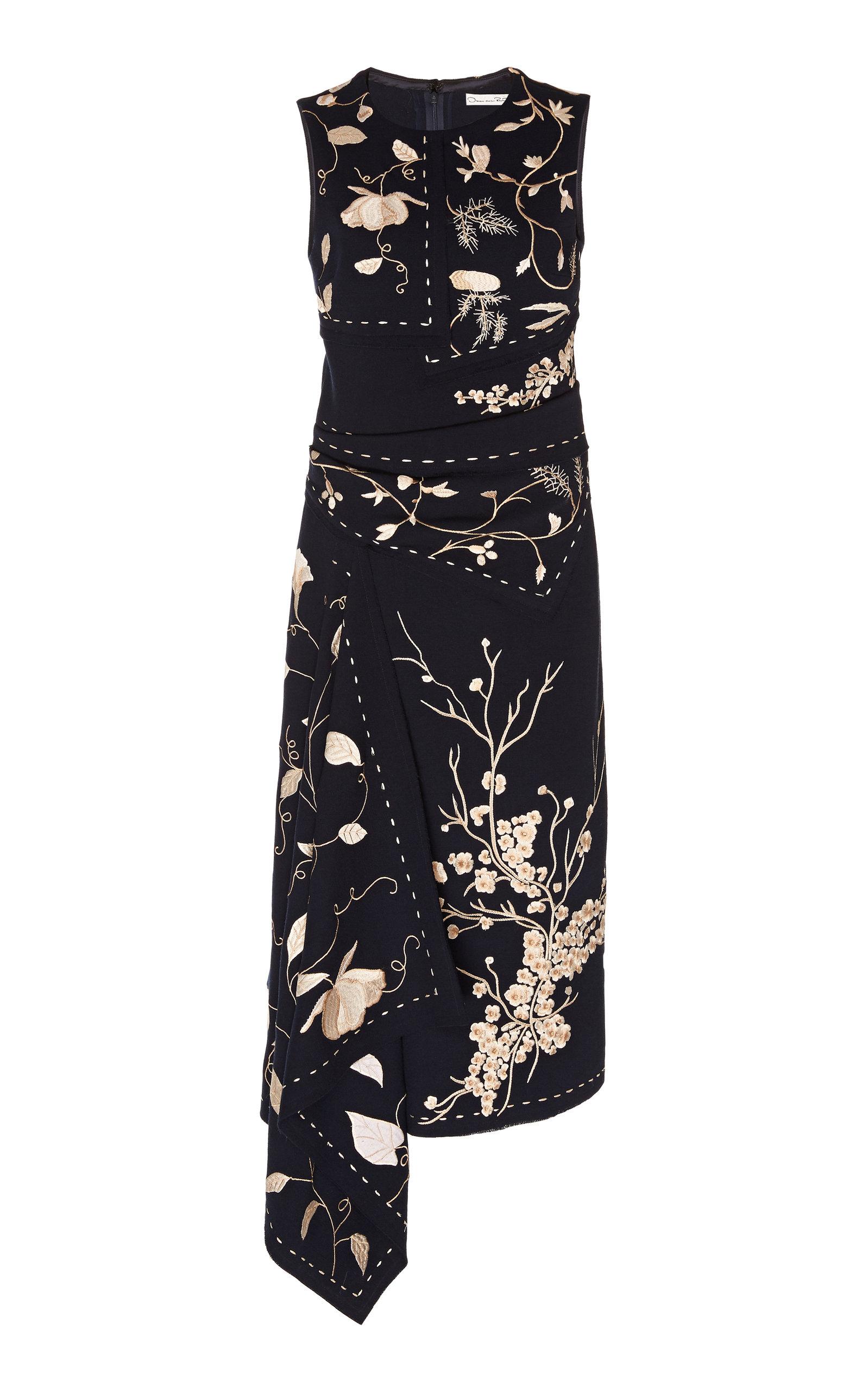 Buy Oscar de la Renta Embroidered Wool-Blend Midi Dress online, shop Oscar de la Renta at the best price