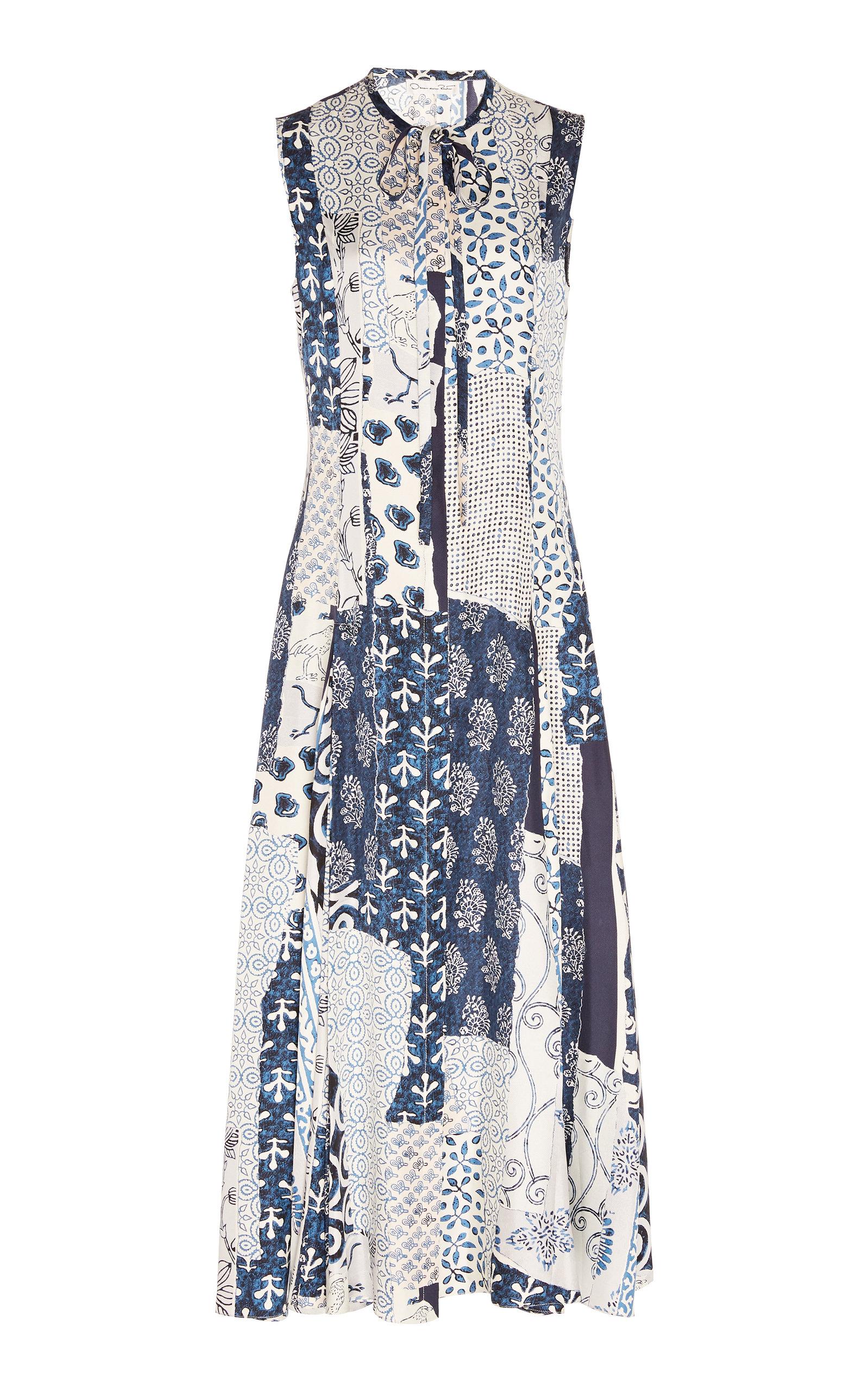Buy Oscar de la Renta Patchwork Silk Midi Dress online, shop Oscar de la Renta at the best price