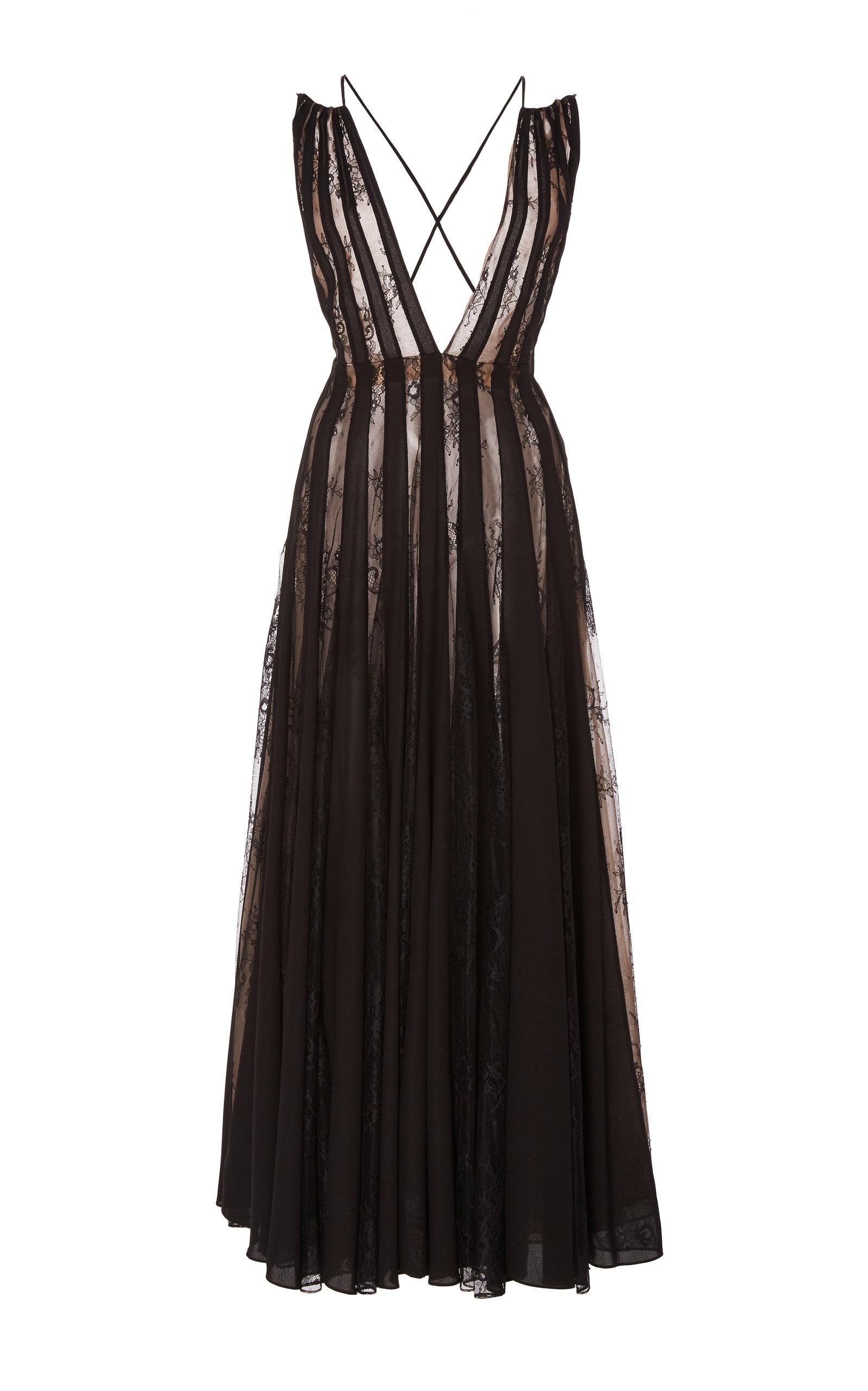 Buy Oscar de la Renta Lace-Paneled Pleated Chiffon Midi Dress online, shop Oscar de la Renta at the best price
