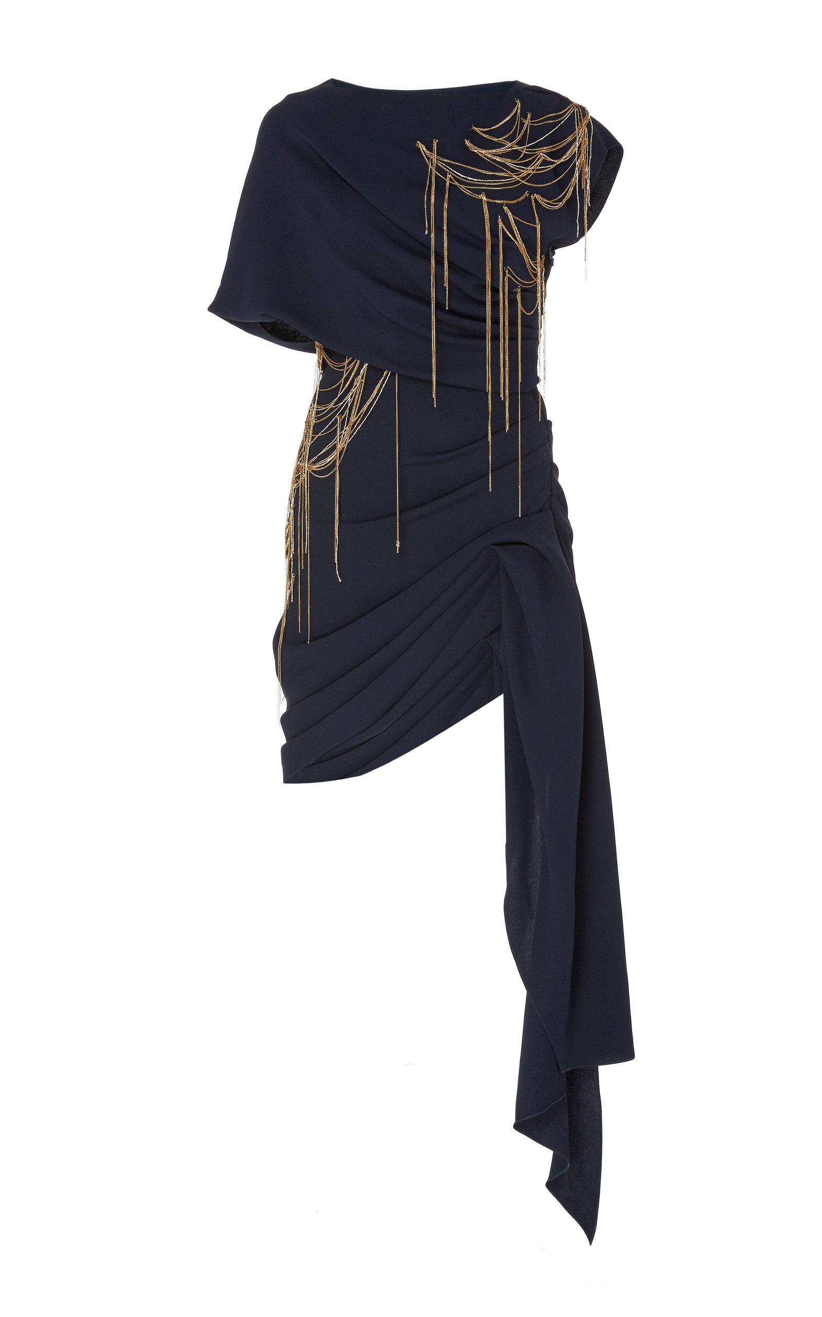 Buy Oscar de la Renta Embellished Draped Silk Mini Dress online, shop Oscar de la Renta at the best price